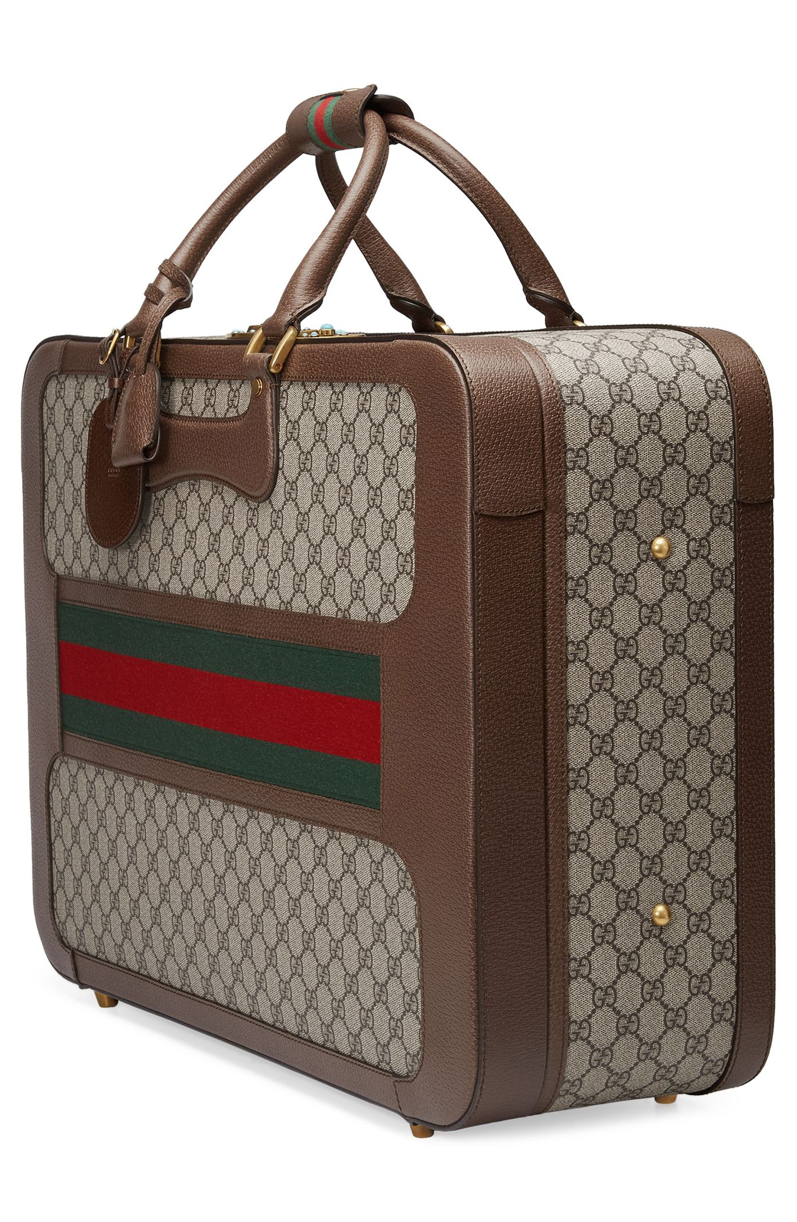 Large Echo GG Supreme Canvas & Leather Suitcase,                             Alternate thumbnail 4, color,                             283
