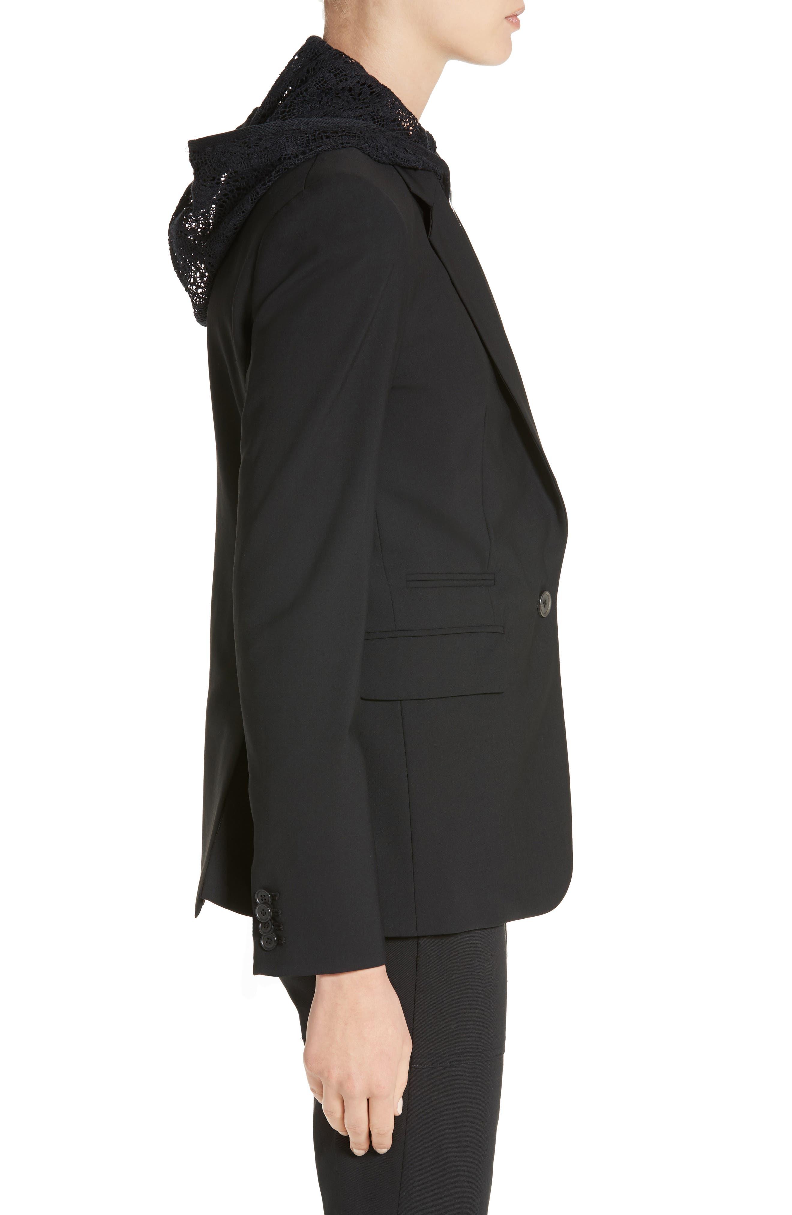 'Classic' Lambswool Blend Single Button Blazer,                             Alternate thumbnail 3, color,                             BLACK
