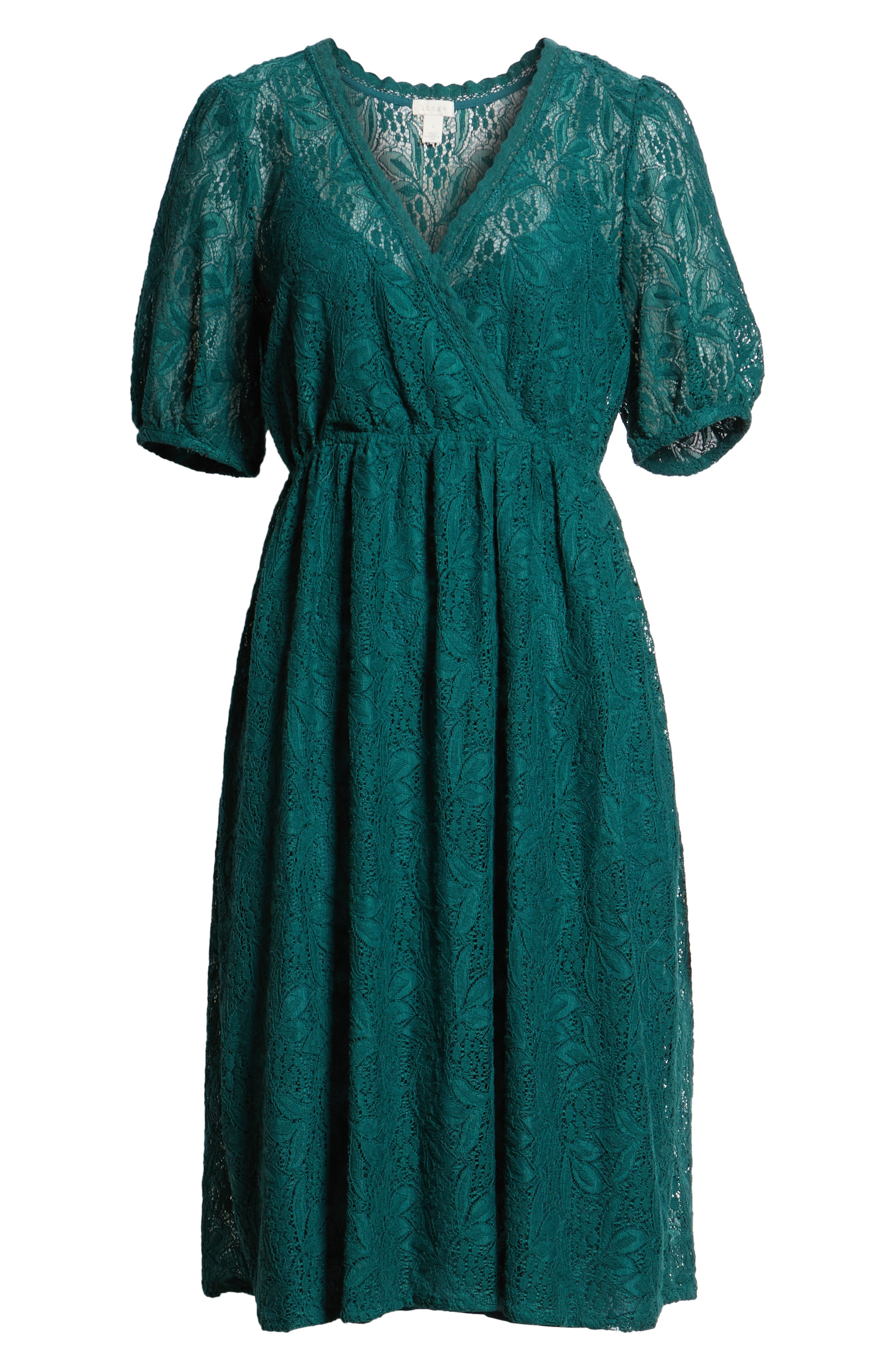 Puff Sleeve Lace Dress,                             Alternate thumbnail 7, color,                             301
