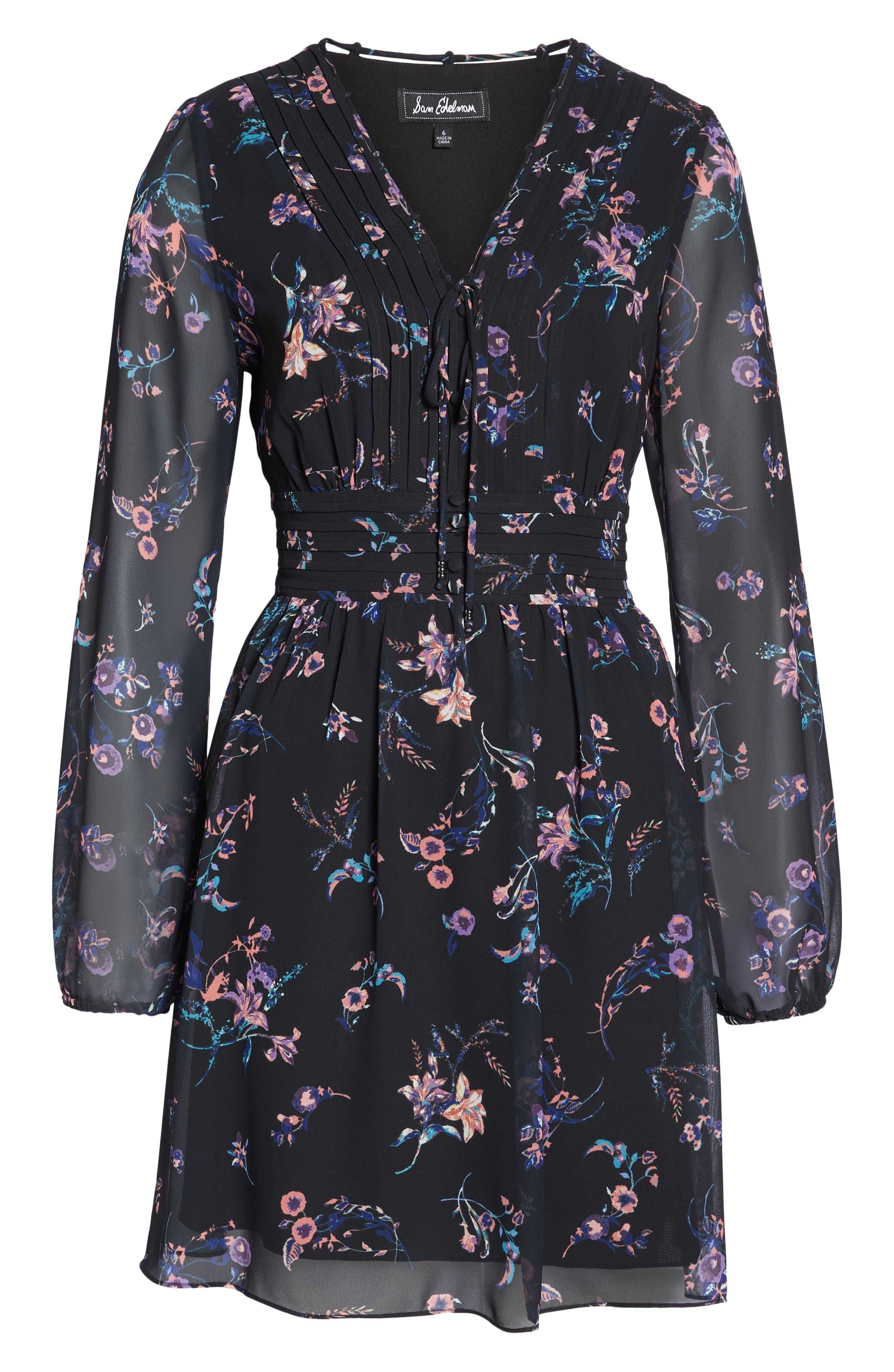 SAM EDELMAN,                             Floral Print Dress,                             Alternate thumbnail 7, color,                             004