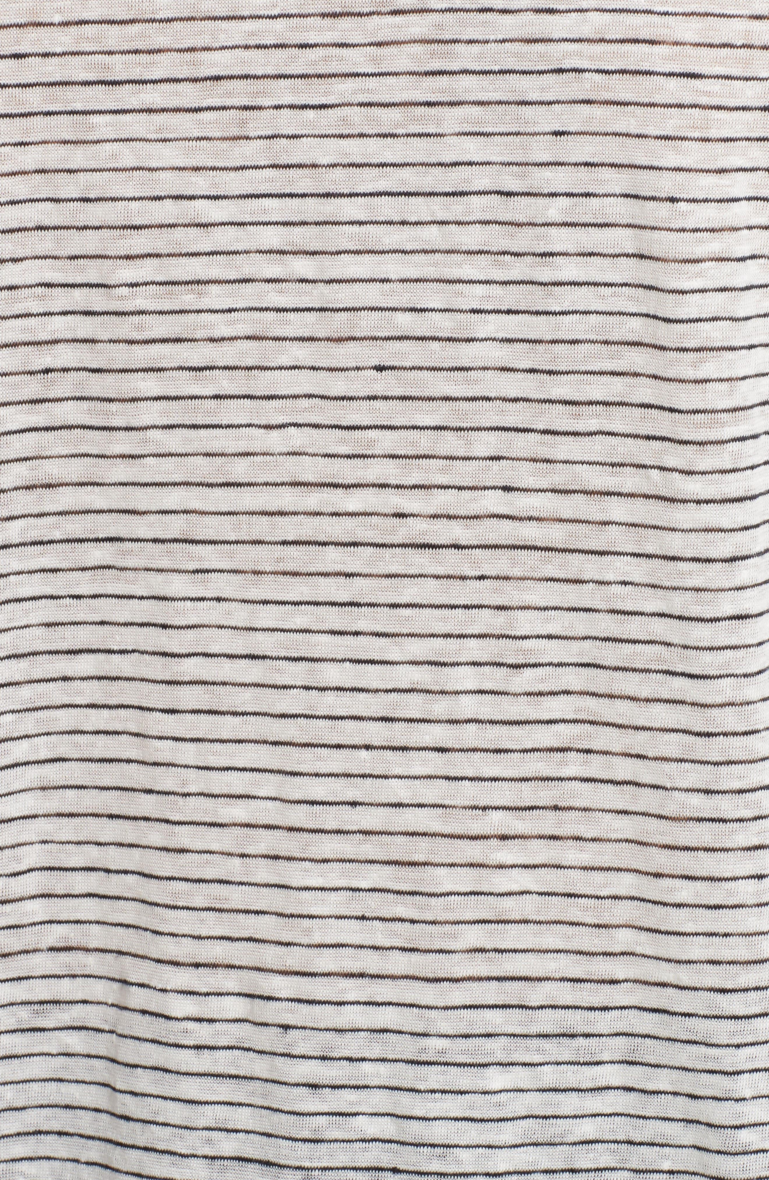 Schoolboy Stripe Linen Tee,                             Alternate thumbnail 5, color,                             107