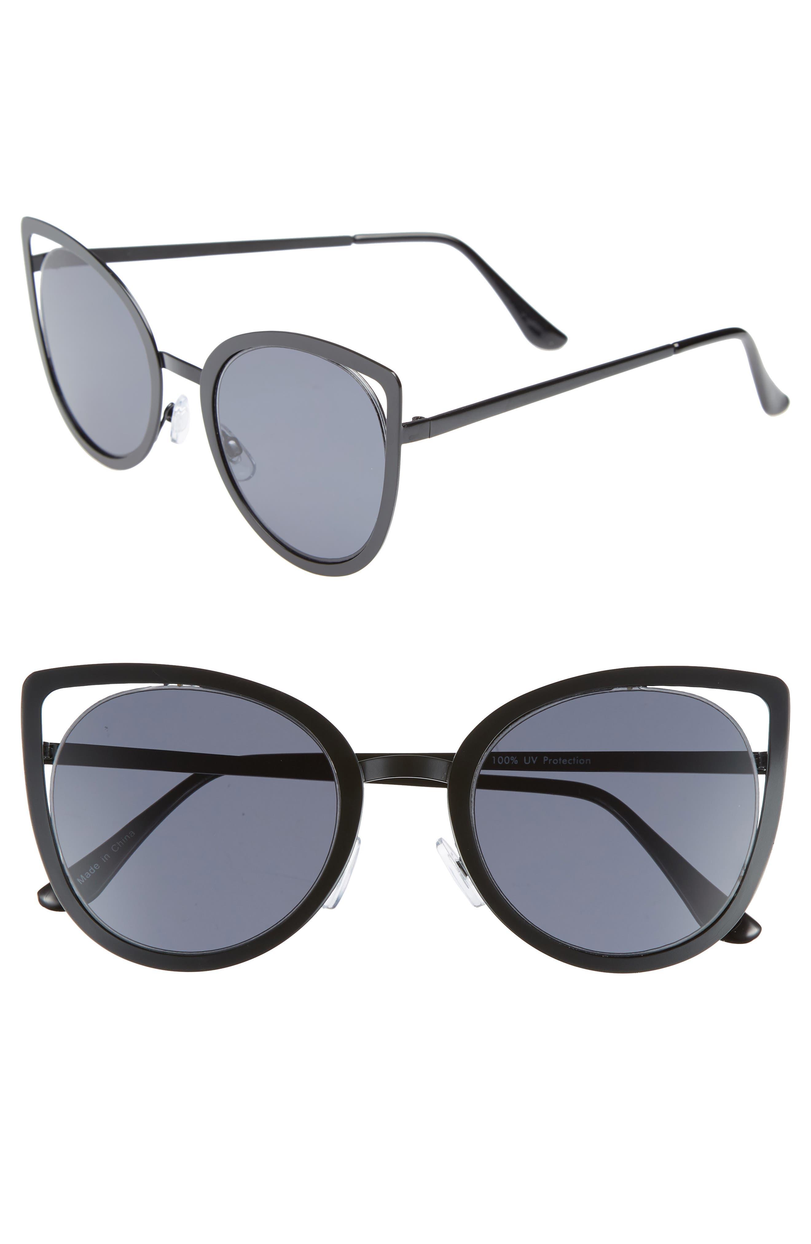 53mm Cutout Cat Eye Sunglasses,                             Main thumbnail 1, color,                             001