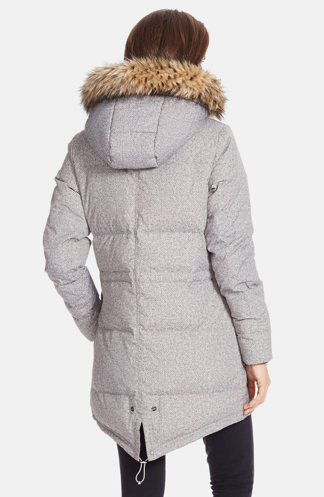 Faux Fur Trim Tweed Print Anorak with Down & Feather Fill,                             Alternate thumbnail 3, color,                             020