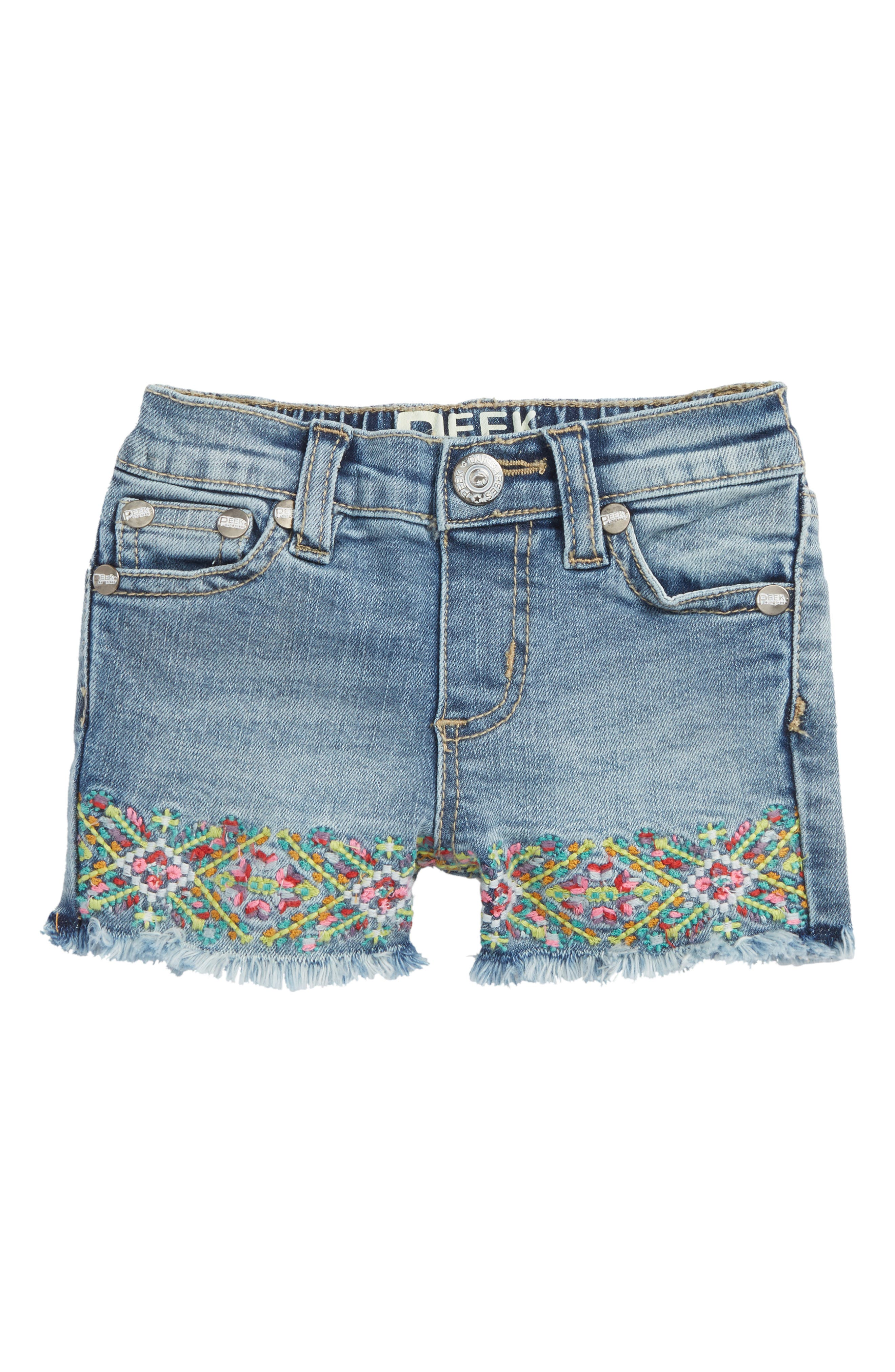 Embroidered Frayed Hem Denim Shorts,                         Main,                         color, 416