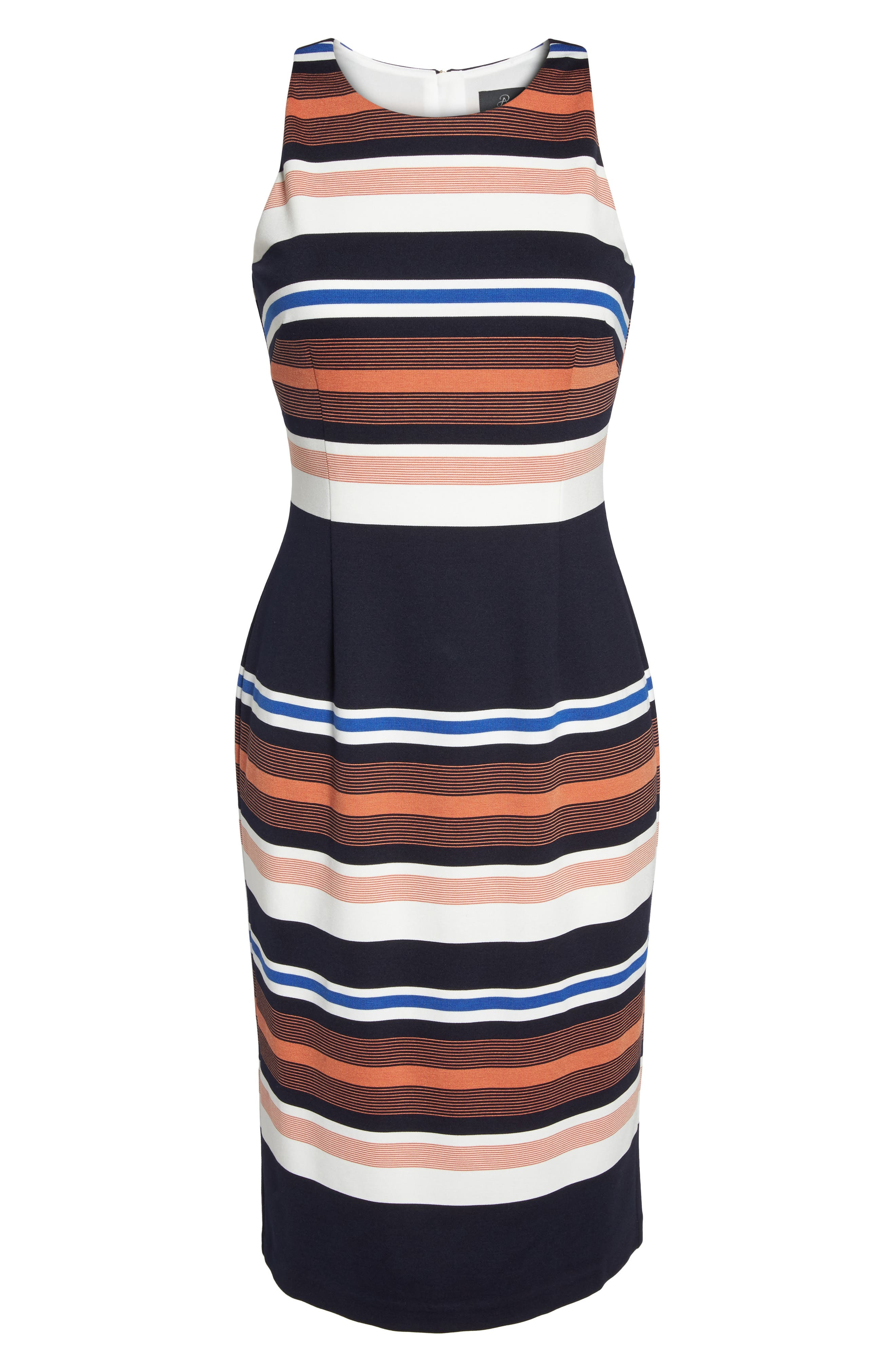 Stripe Body-Con Dress,                             Alternate thumbnail 6, color,                             001
