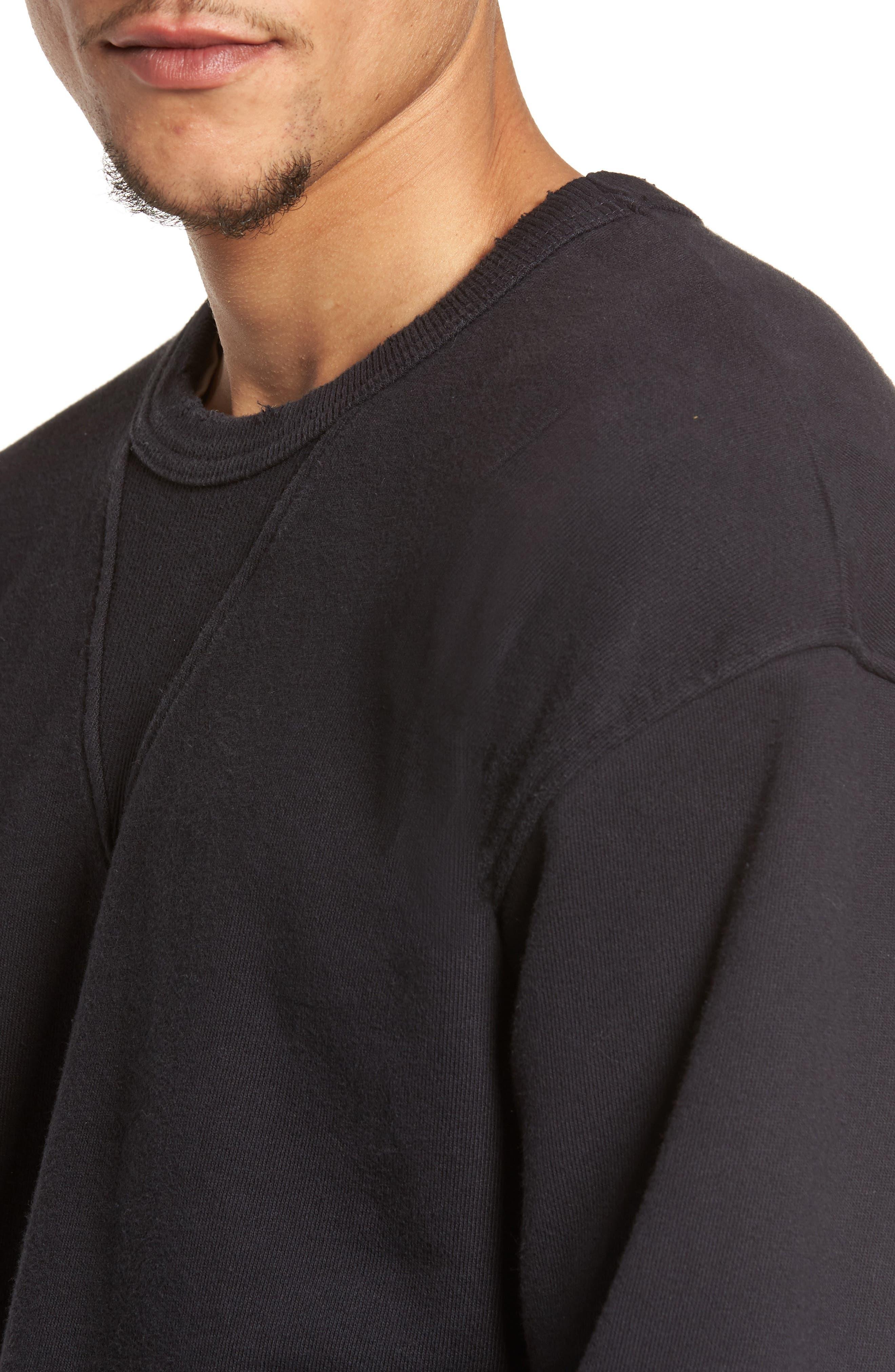 Distressed Sweatshirt,                             Alternate thumbnail 4, color,                             001
