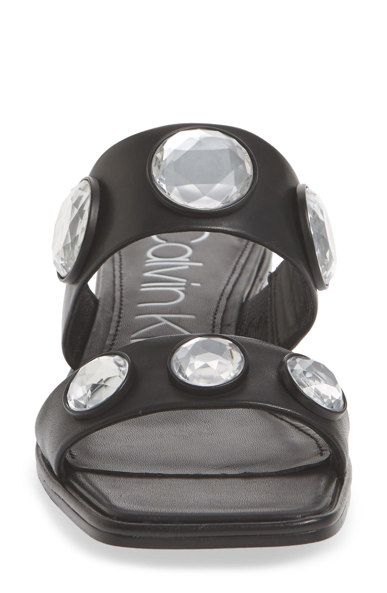 Kace Crystal Embellished Slide Sandal,                             Alternate thumbnail 4, color,                             001