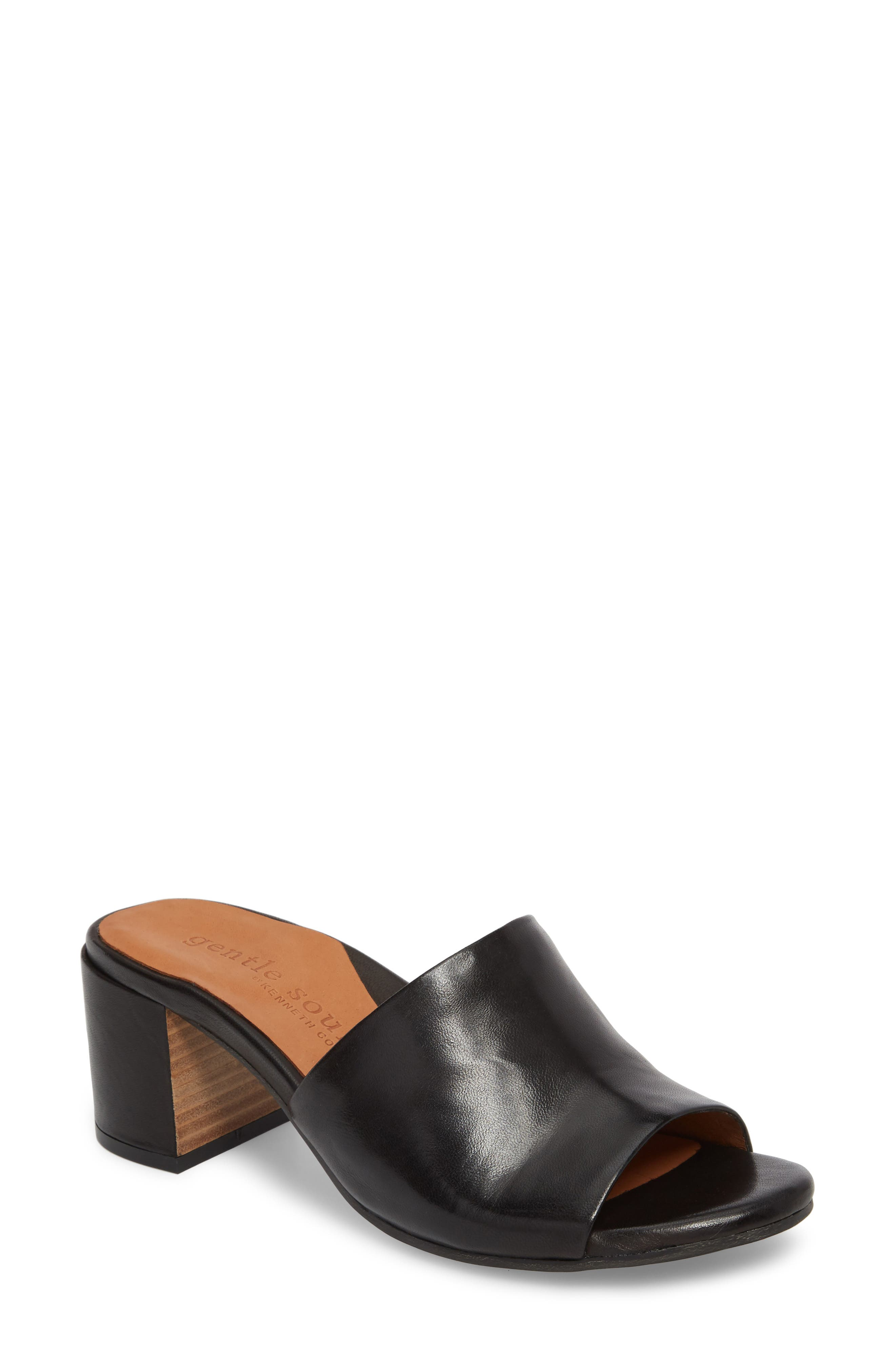 by Kenneth Cole Chantel Sandal,                             Main thumbnail 1, color,                             BLACK LEATHER