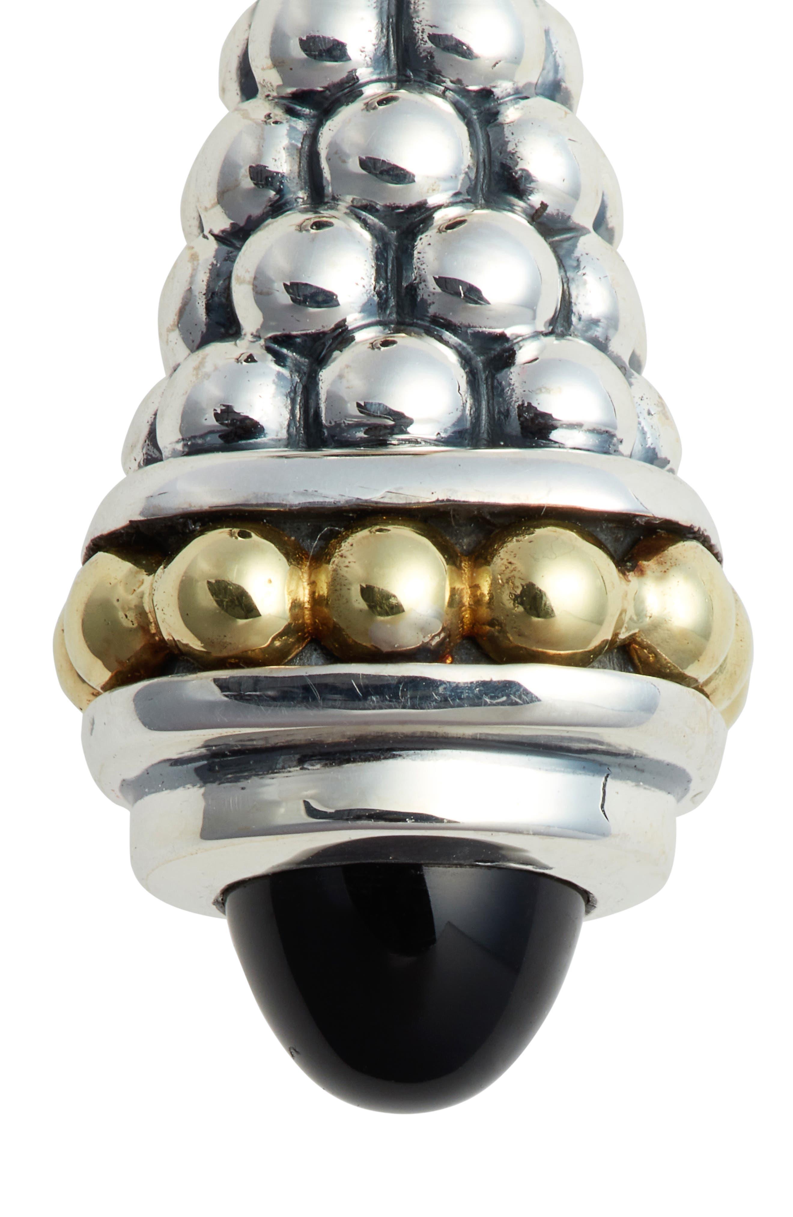 Signature Caviar Stone Cap Drop Earrings,                             Alternate thumbnail 5, color,                             SILVER/ BLACK ONYX