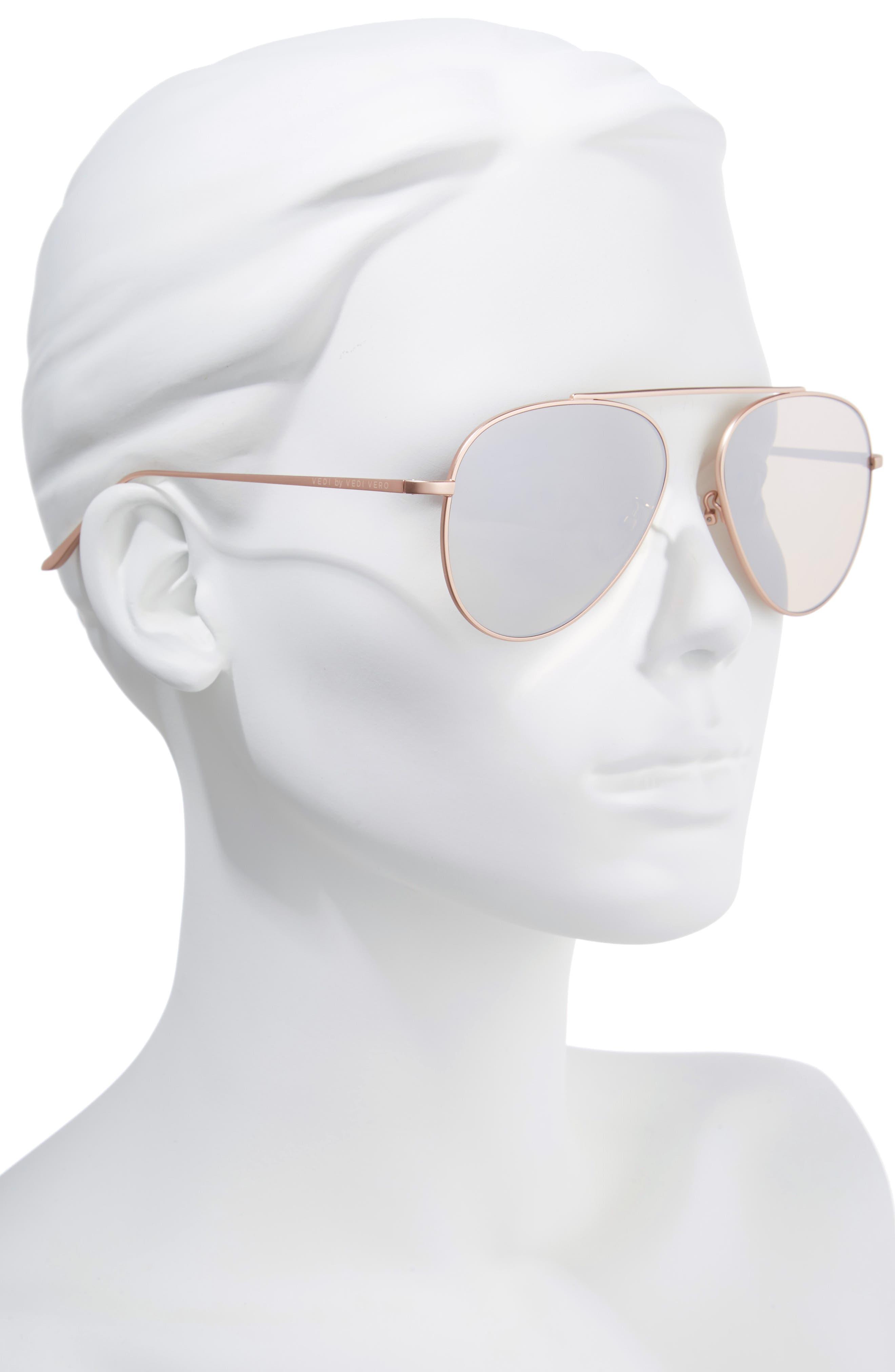 59mm Metal Aviator Sunglasses,                             Alternate thumbnail 2, color,                             ROSE GOLD/GOLD MIRROR