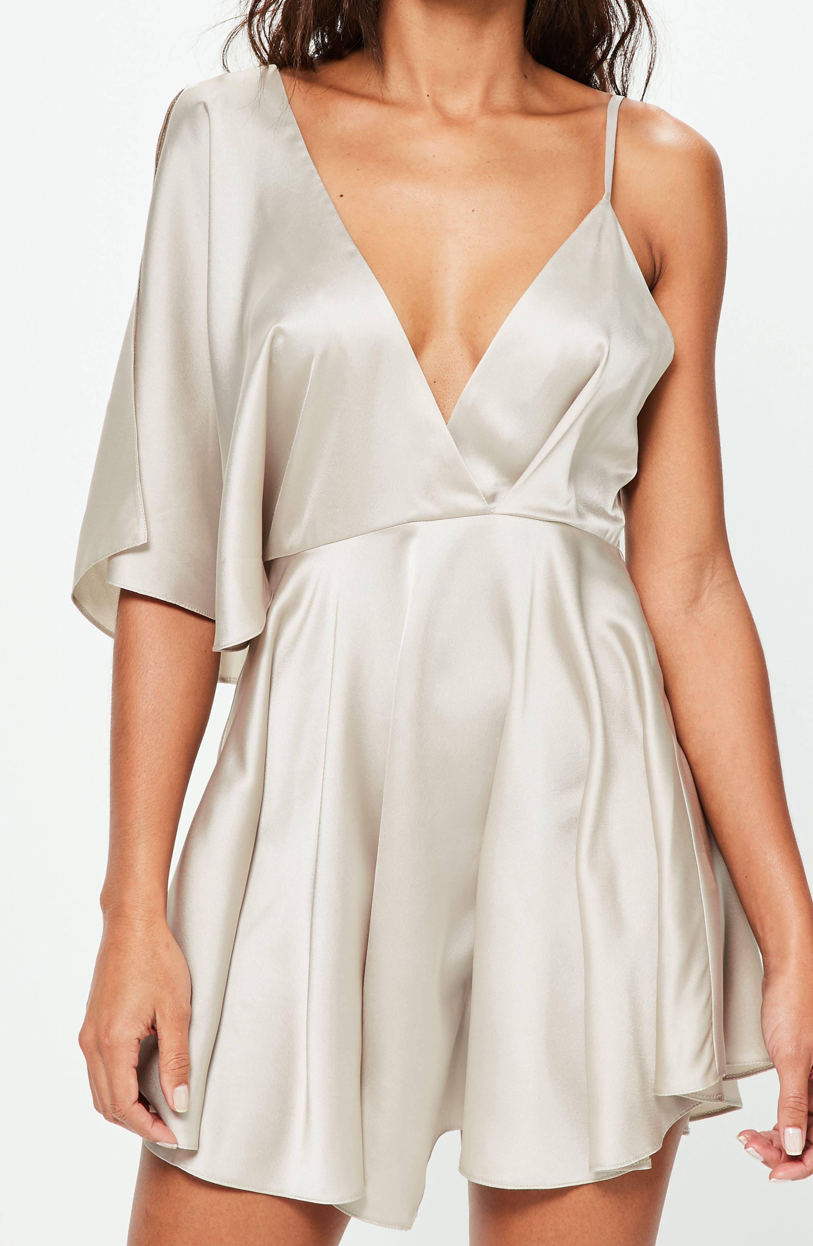 Asymmetrical Sleeve Swing Dress,                             Alternate thumbnail 4, color,                             650