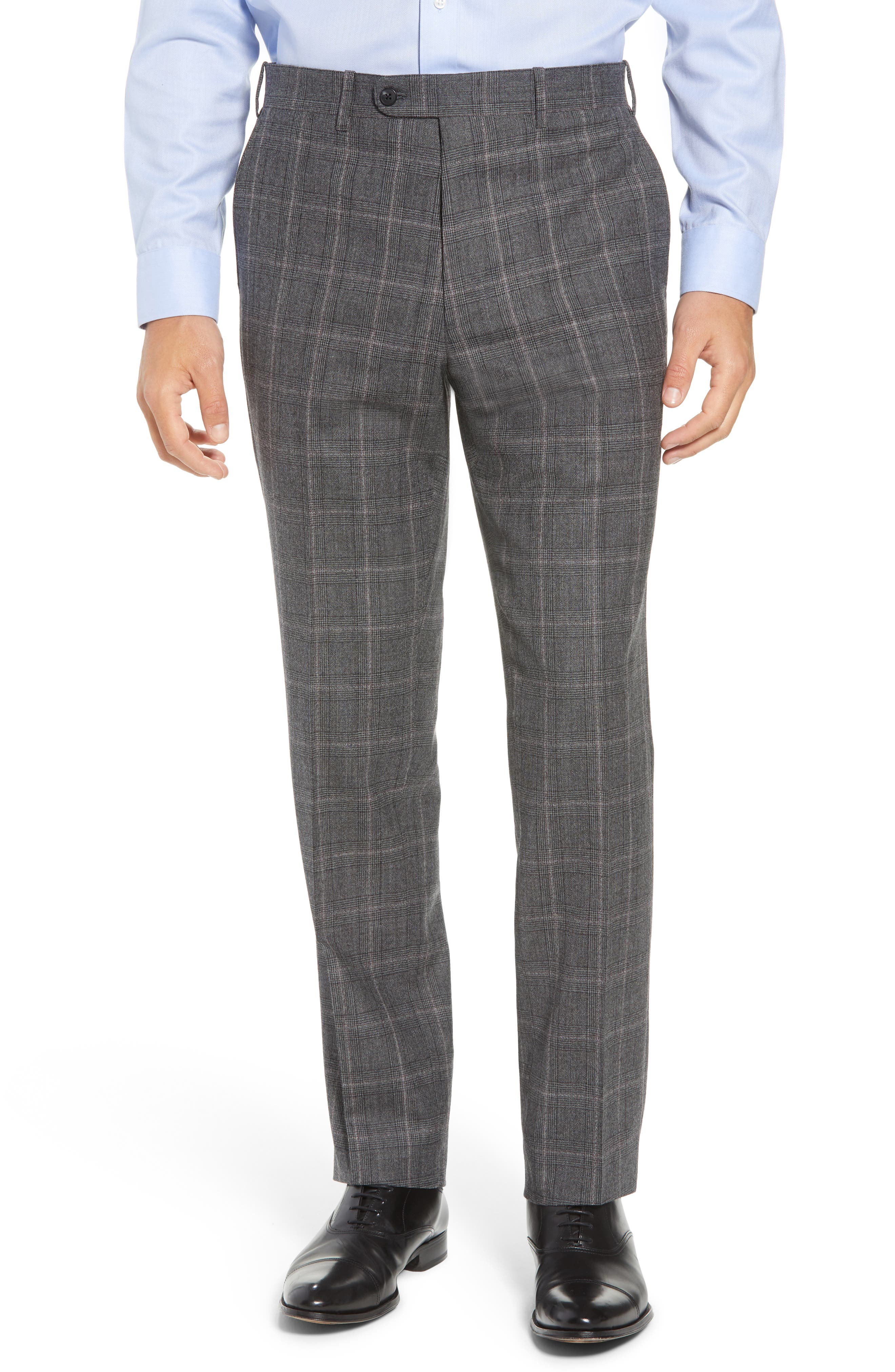 Torino Traditional Fit Flat Front Plaid Wool & Cashmere Trousers,                         Main,                         color, GREY