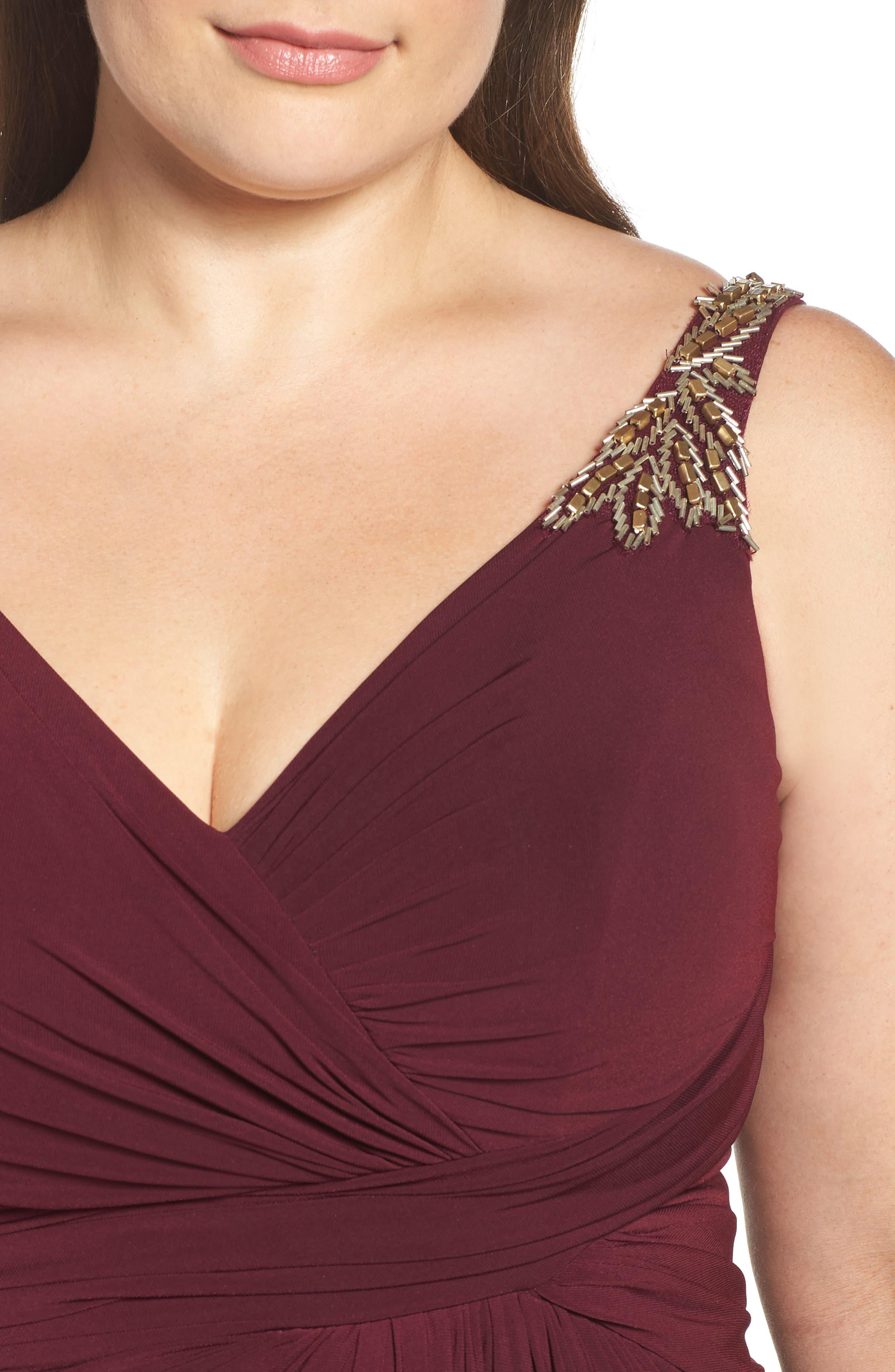 Embellished Shoulder Jersey Gown,                             Alternate thumbnail 4, color,                             BURGUNDY