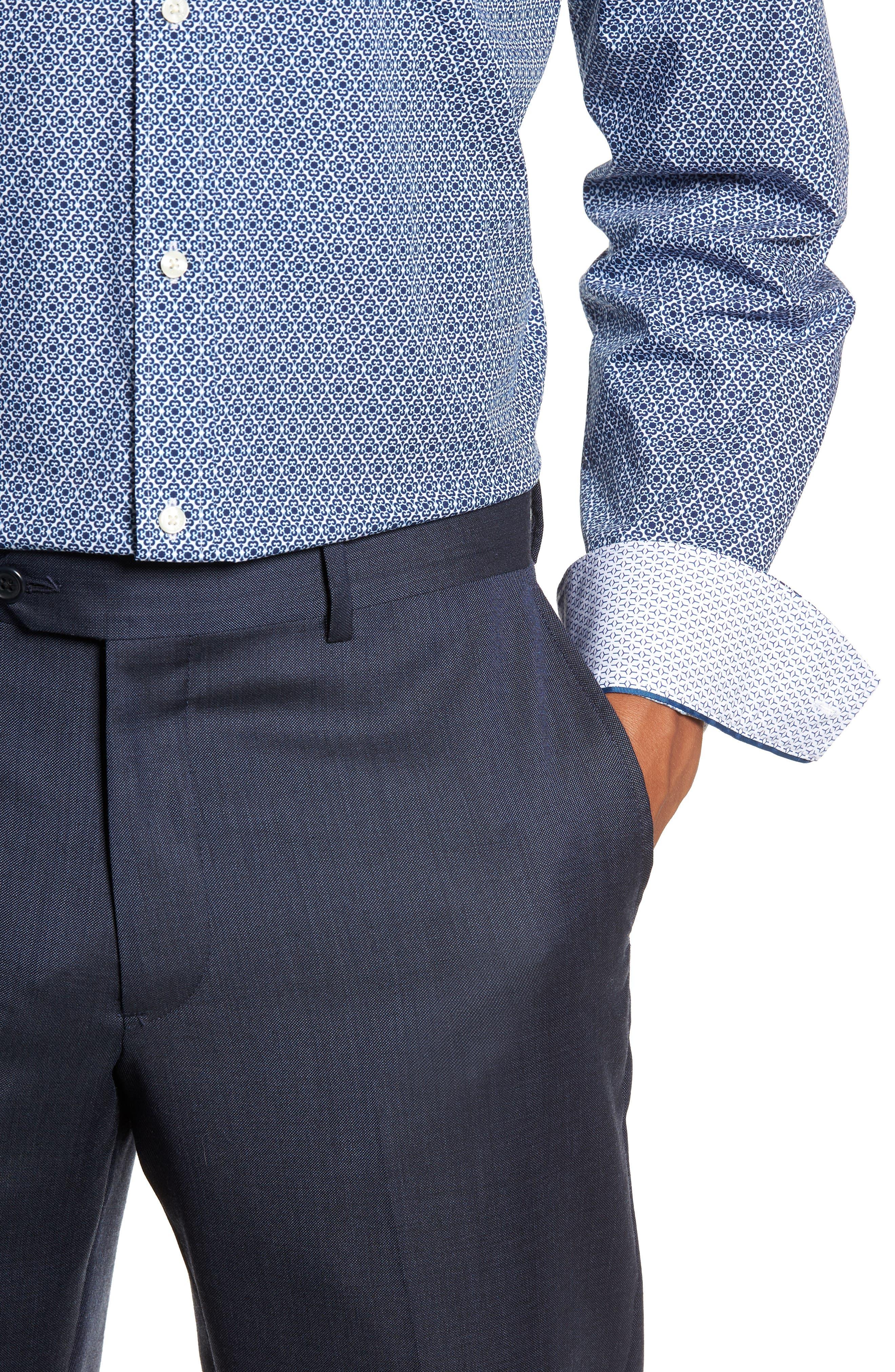 Slestmi Slim Fit Print Dress Shirt,                             Alternate thumbnail 2, color,                             BLUE