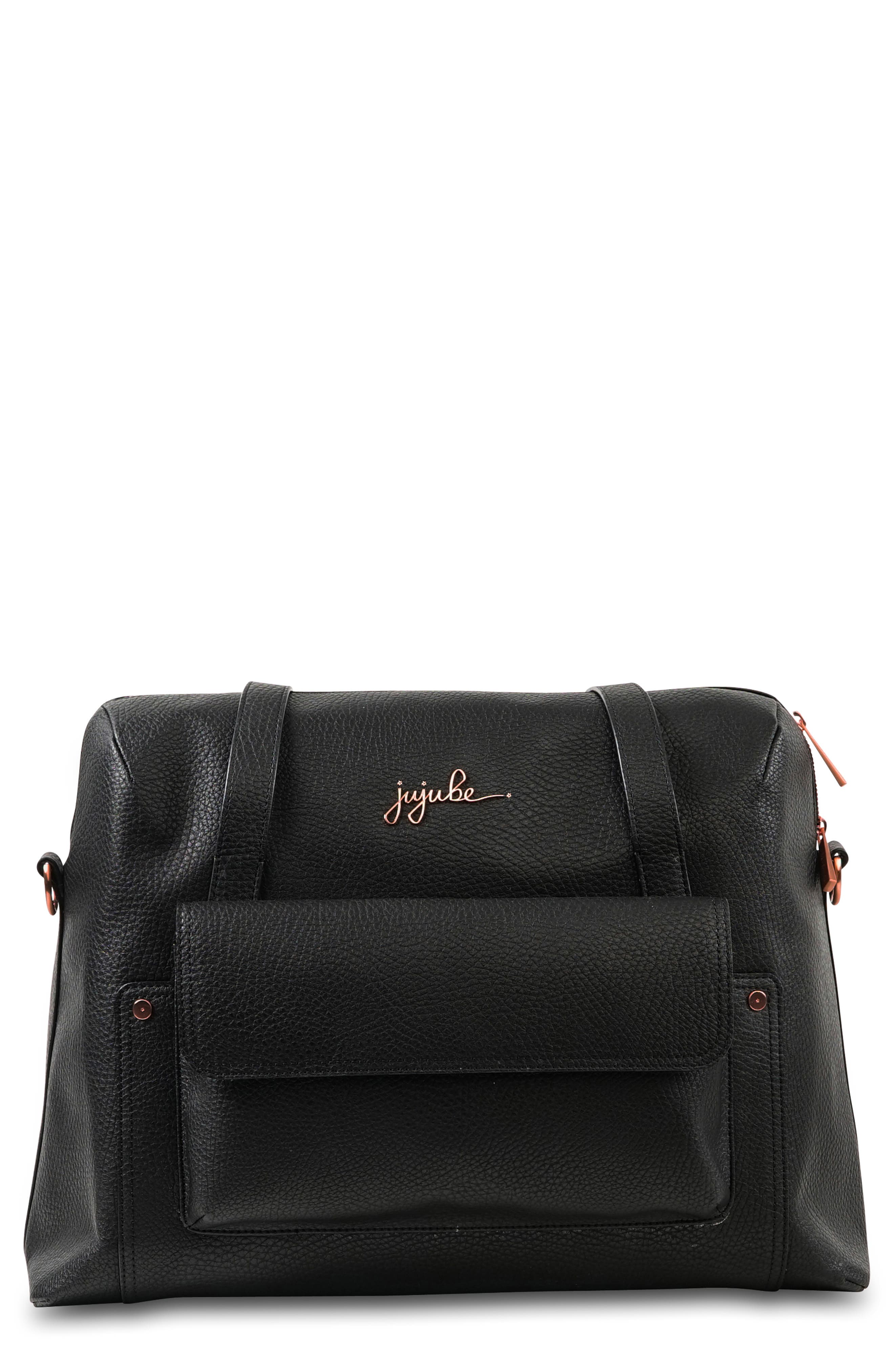 Ever Collection Wherever Faux Leather Weekend Diaper Bag,                             Main thumbnail 1, color,                             NOIR ROSE