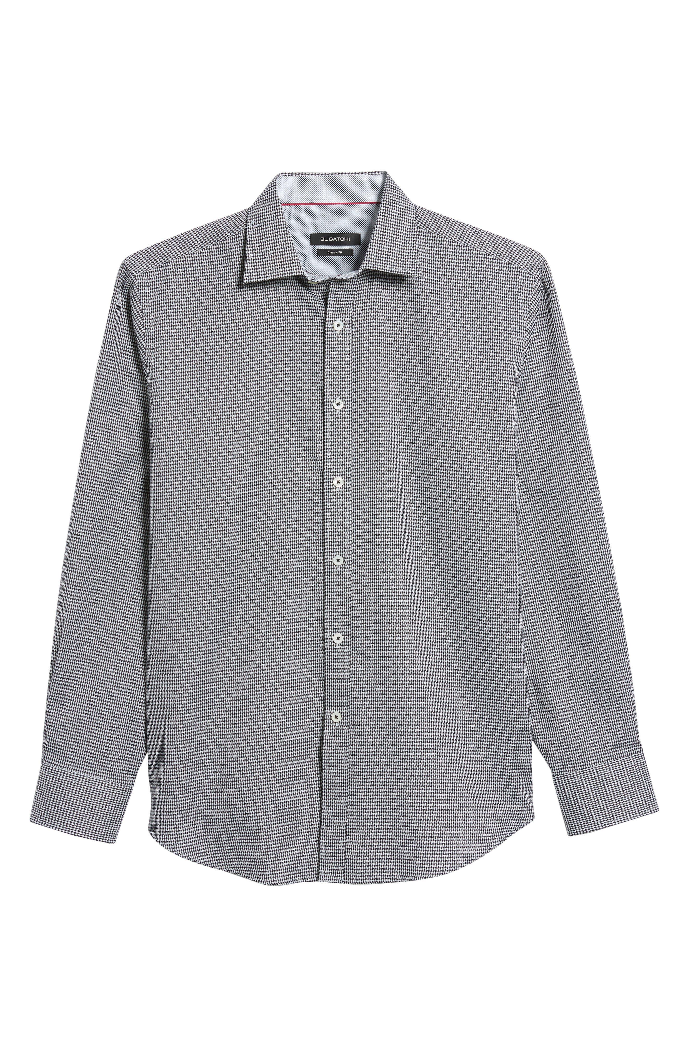 Classic Fit Lines of Distinction Print Sport Shirt,                             Alternate thumbnail 6, color,                             001