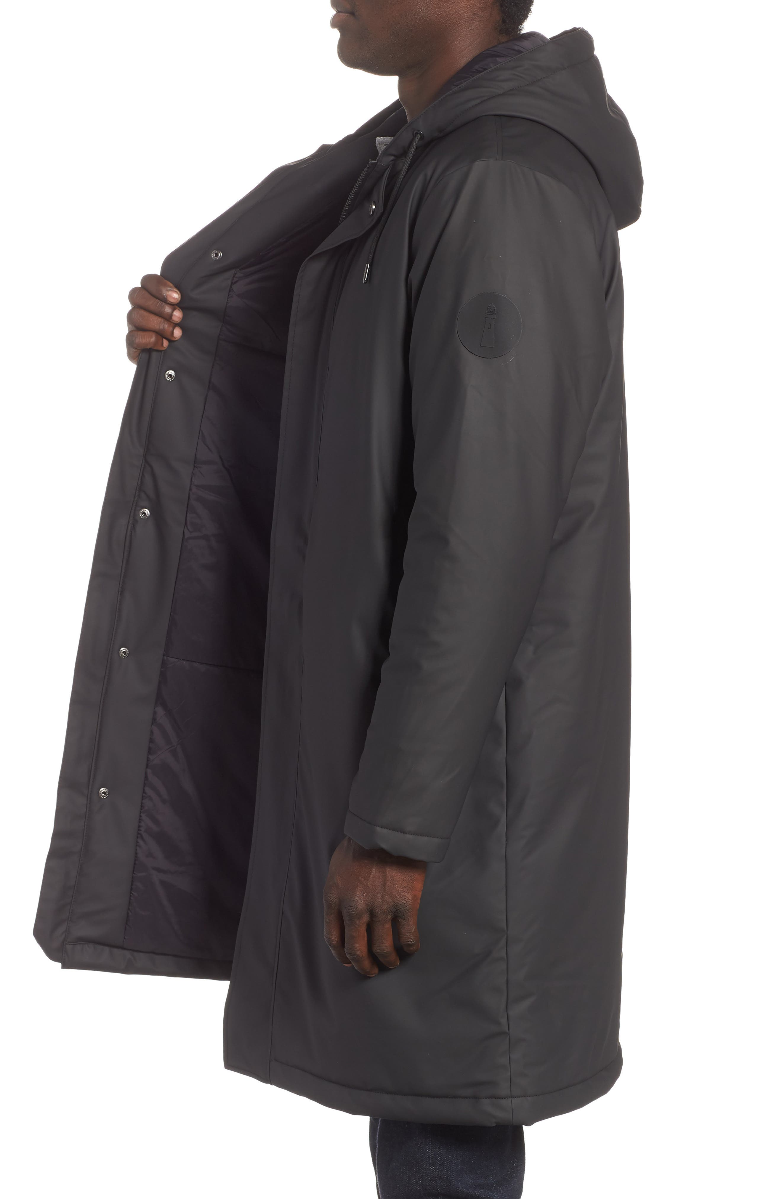 Thermal Hooded Raincoat,                             Alternate thumbnail 3, color,                             BLACK