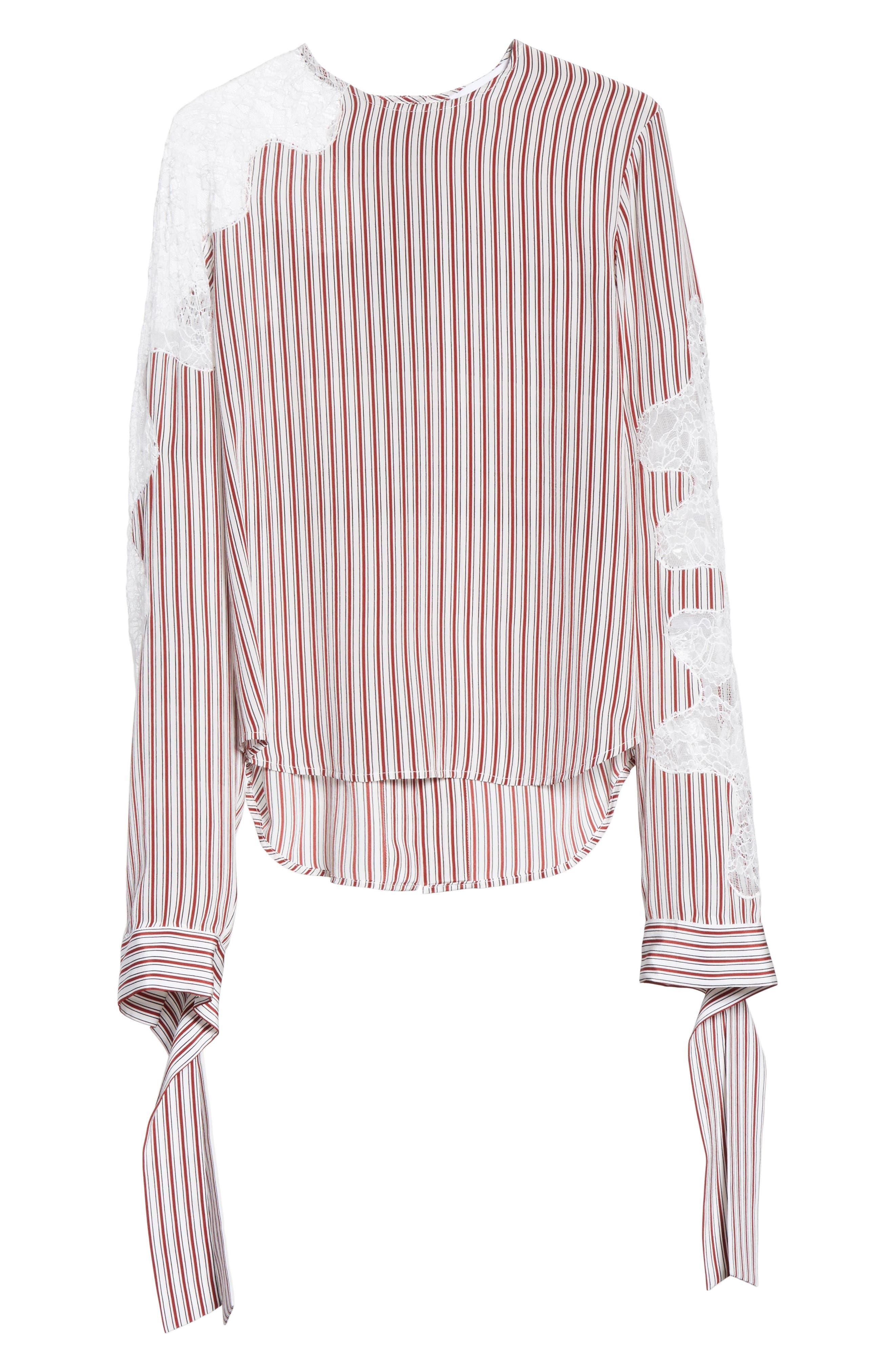 Lace Inset Stripe Blouse,                             Alternate thumbnail 6, color,