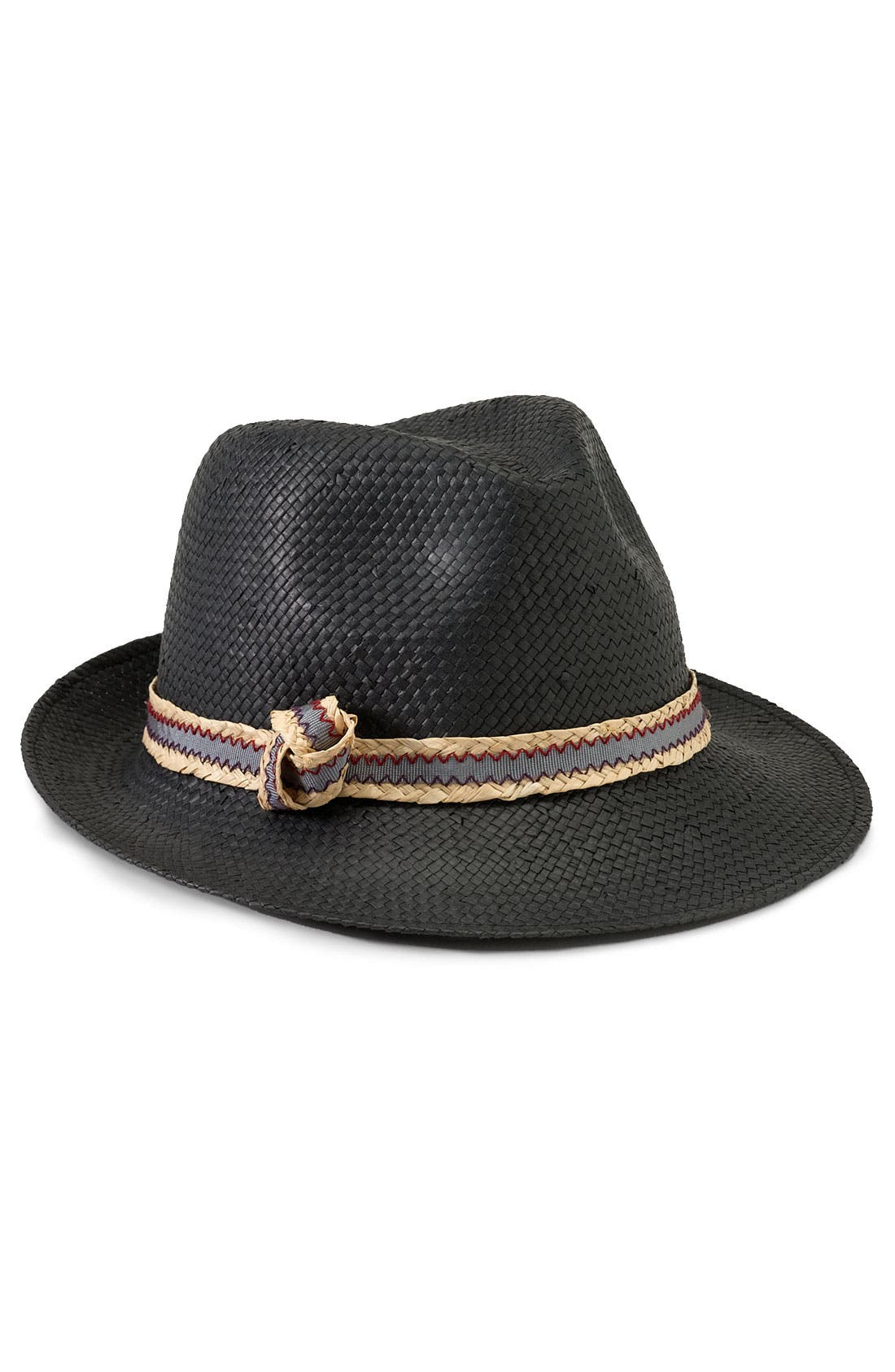 TARNISH,                             Straw Fedora with Contrast Trim,                             Main thumbnail 1, color,                             001