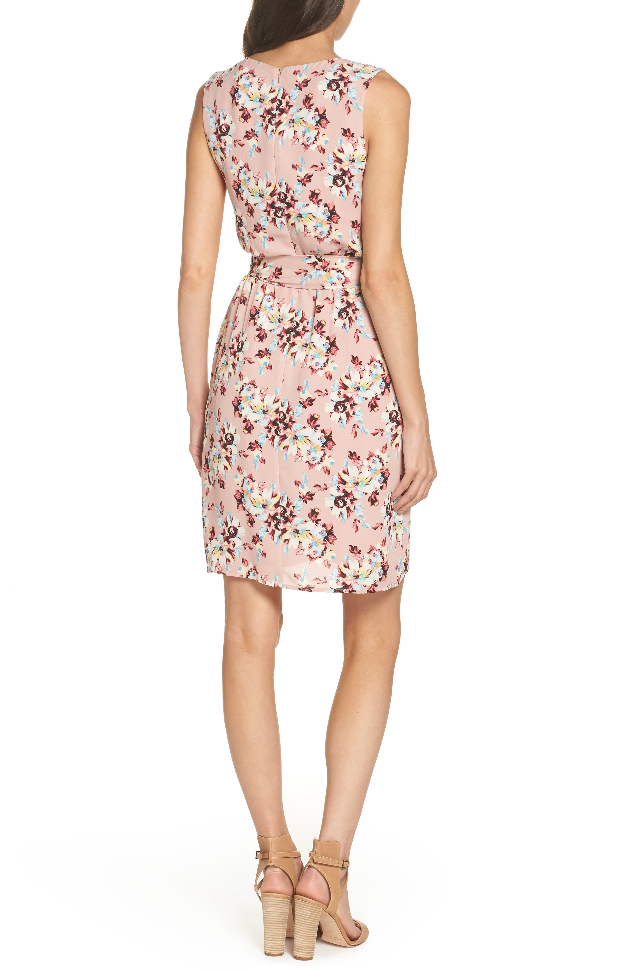 Floral Faux Wrap Dress,                             Alternate thumbnail 2, color,                             657