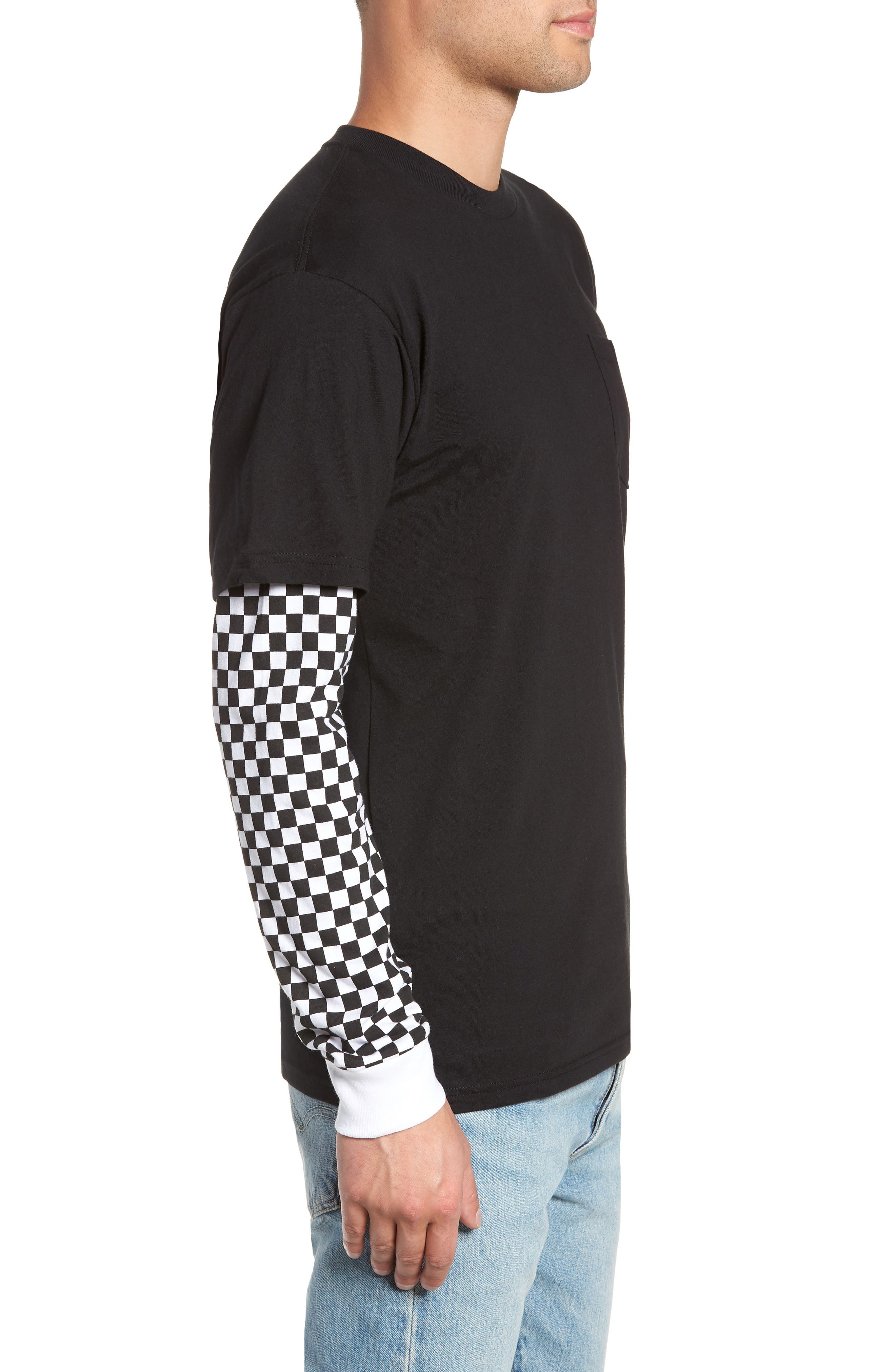 Checker Sleeve T-Shirt,                             Alternate thumbnail 3, color,                             001