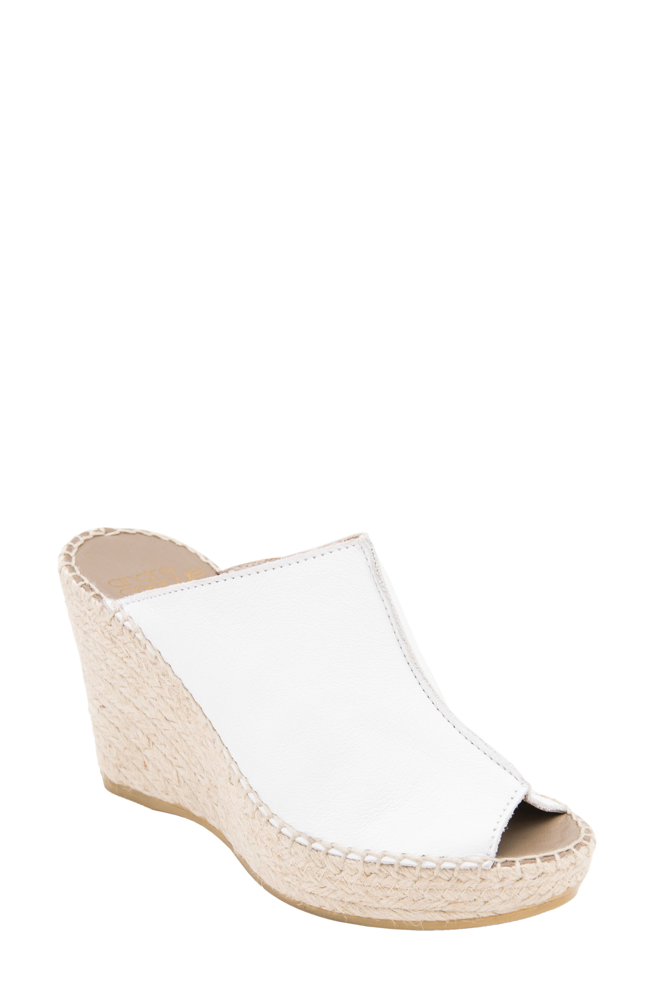 ANDRE ASSOUS Cici Espadrille Wedge in White Leather
