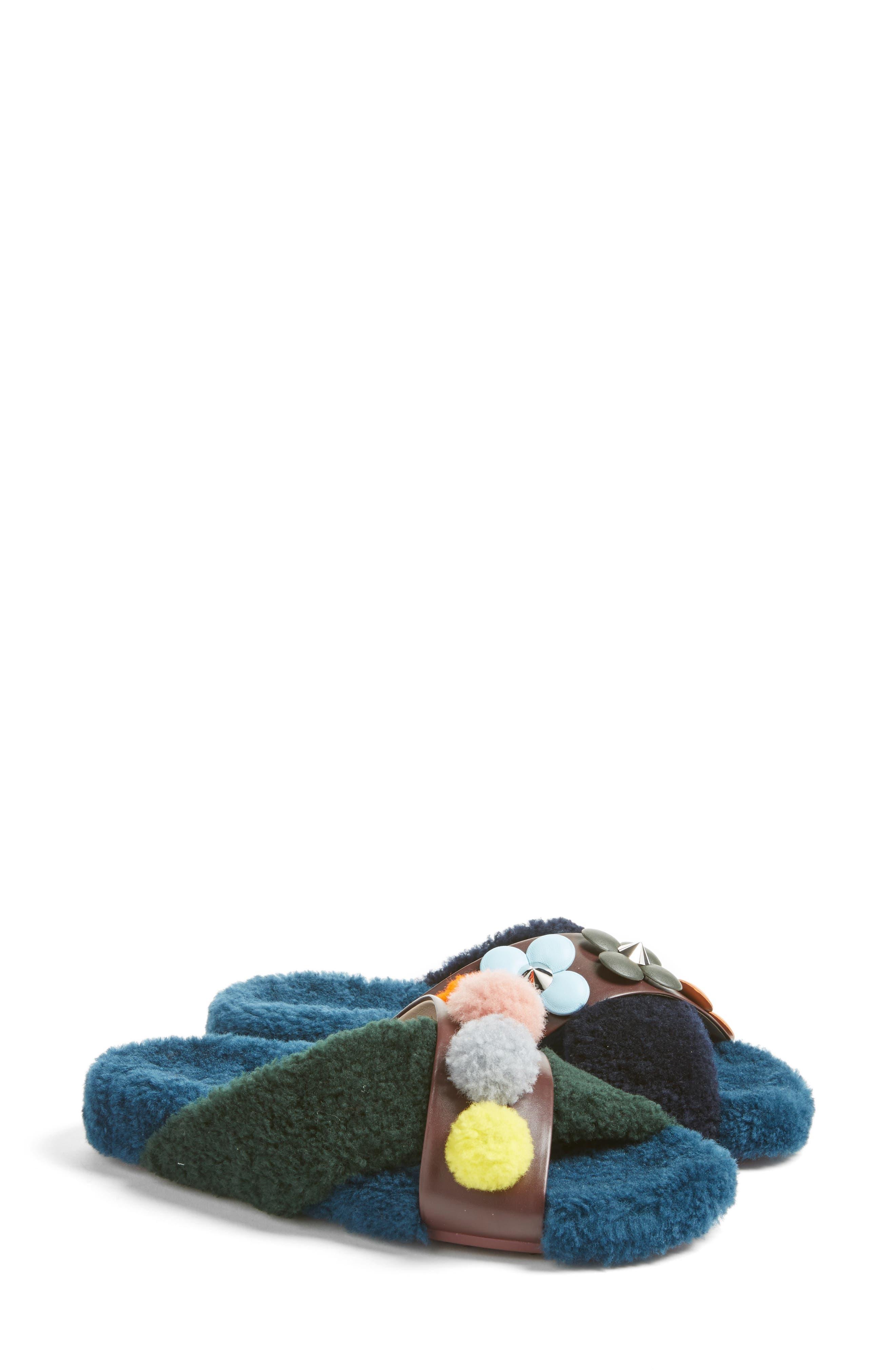 Genuine Shearling Slide Sandal,                             Main thumbnail 1, color,                             002