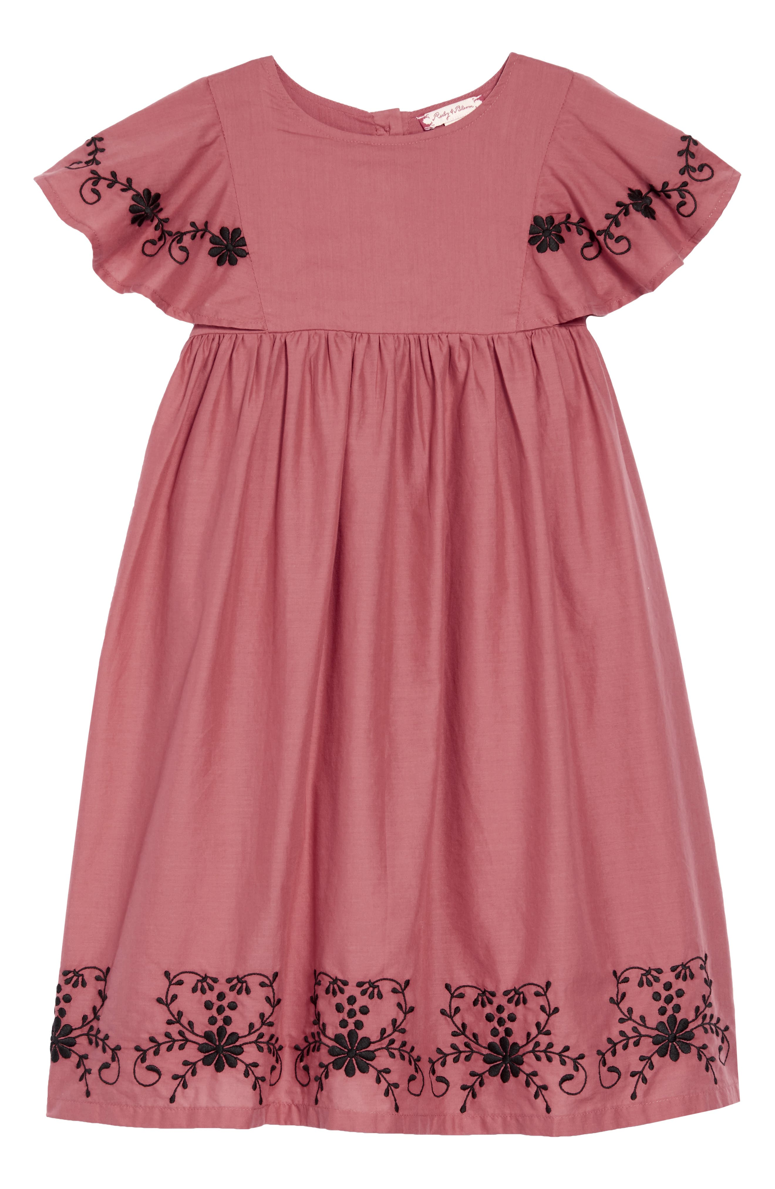 Embroidered Flowy Dress,                         Main,                         color, PINK CEDAR