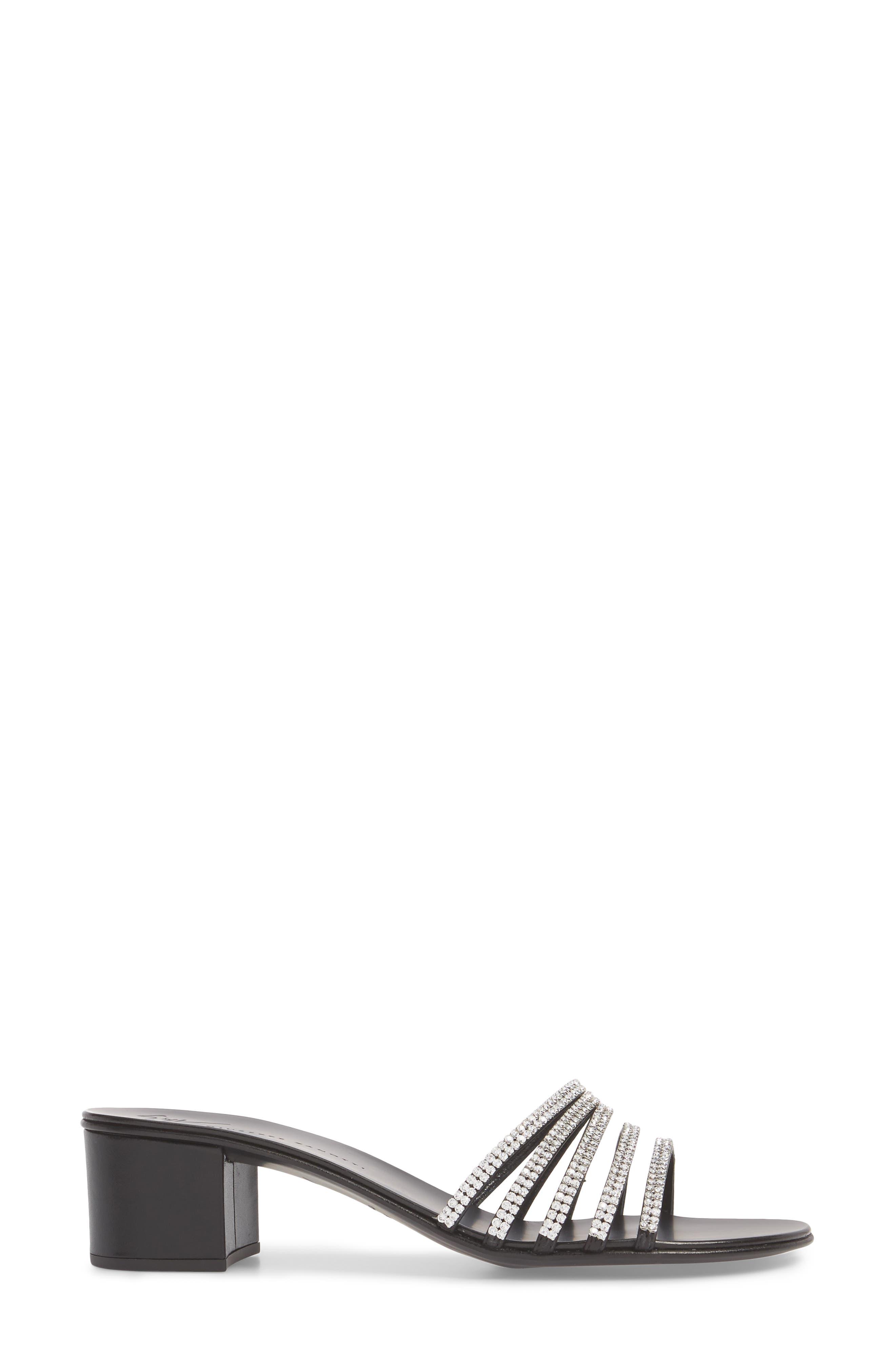 Swarovski Crystal Slide Sandal,                             Alternate thumbnail 3, color,                             BLACK