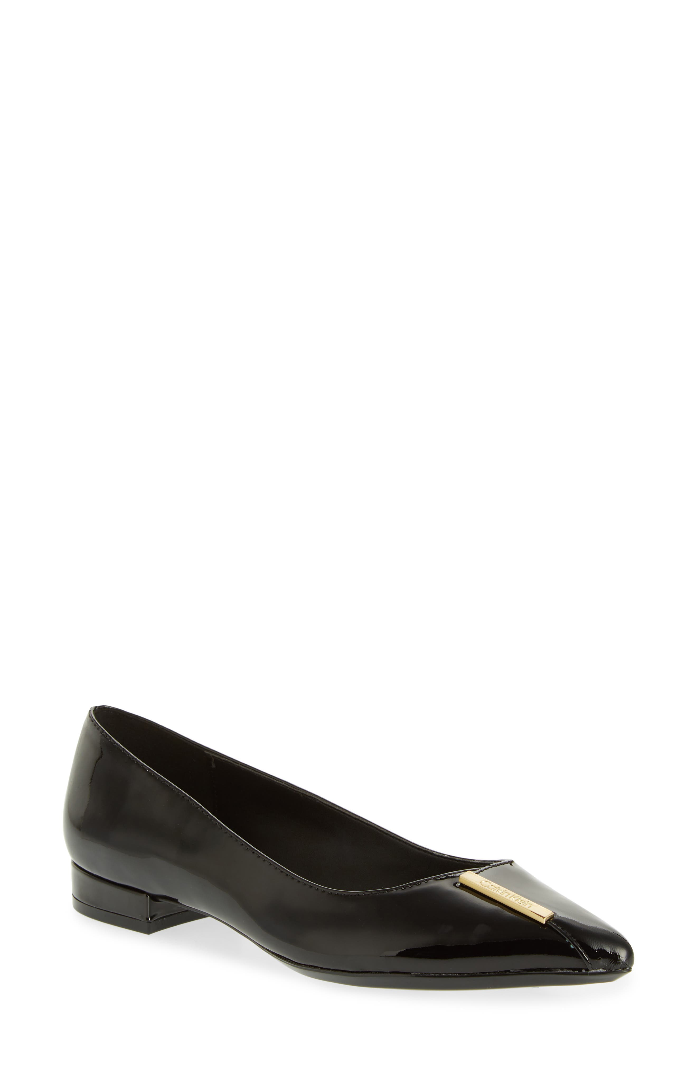 Arline Pointy Toe Flat,                             Main thumbnail 1, color,                             BLACK PATENT LEATHER