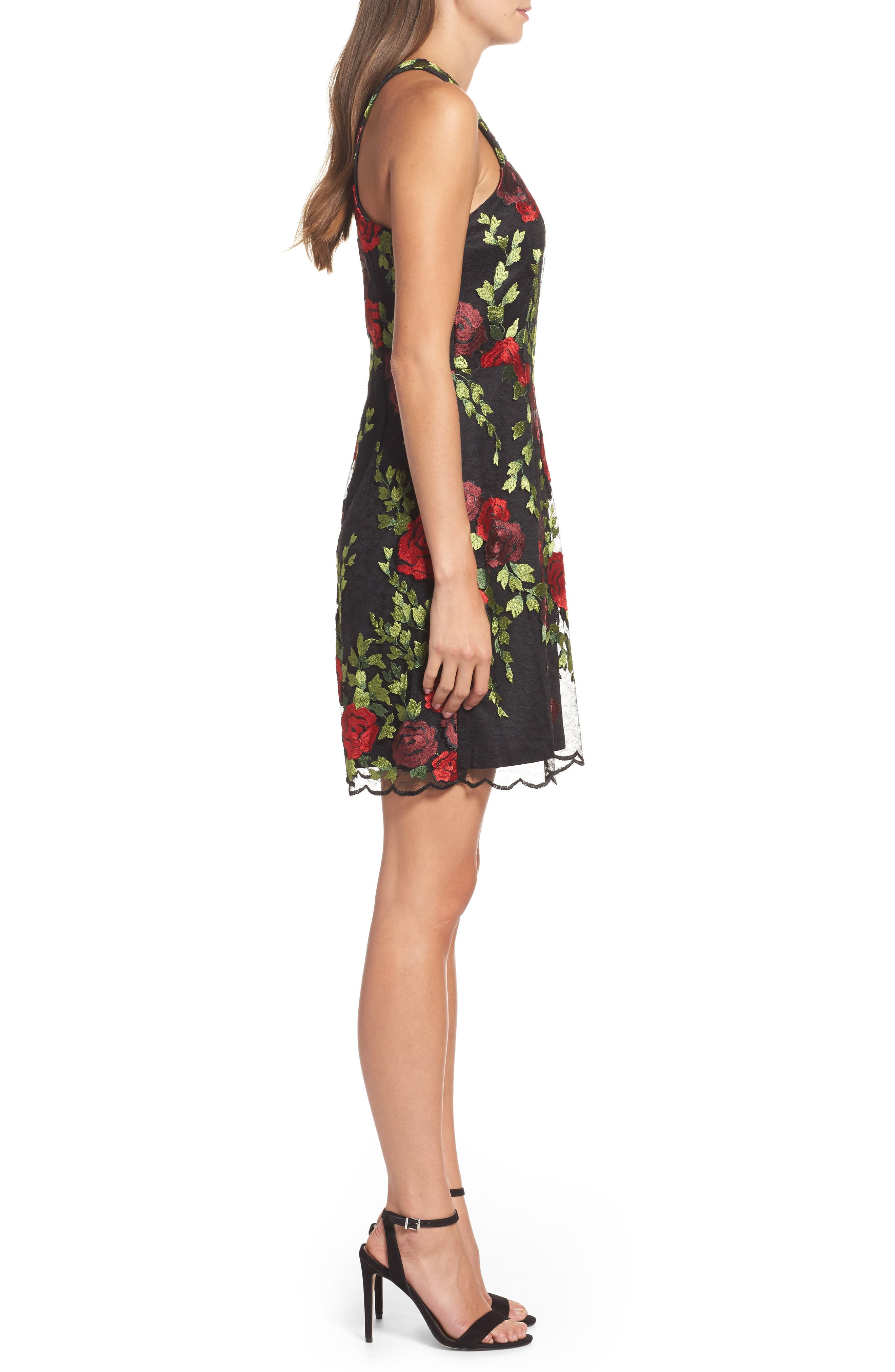 Lace Sheath Dress,                             Alternate thumbnail 3, color,                             007
