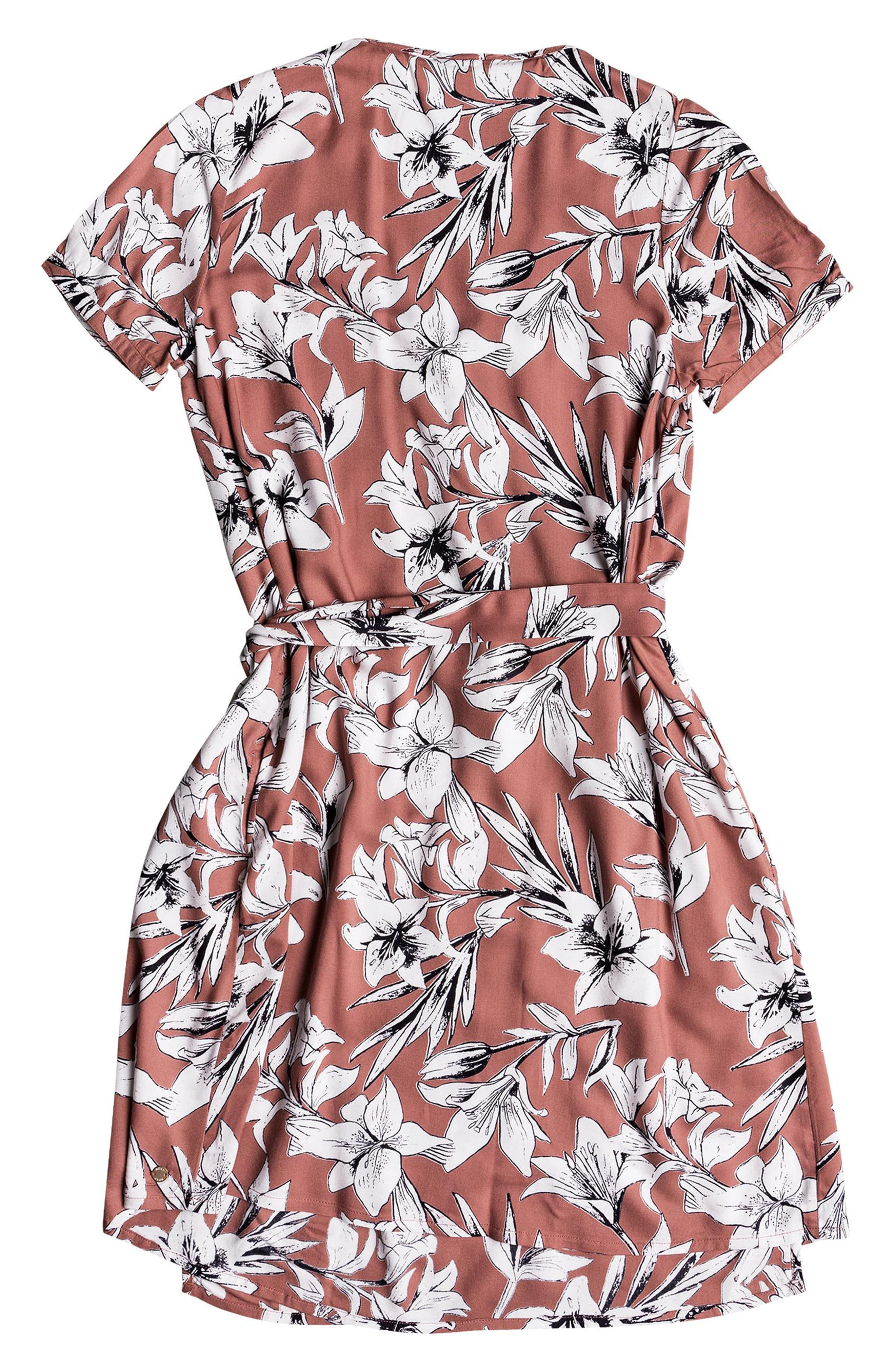 Monument View Floral Print Wrap Dress,                             Alternate thumbnail 6, color,                             WITHERED ROSE LILY HOUSE