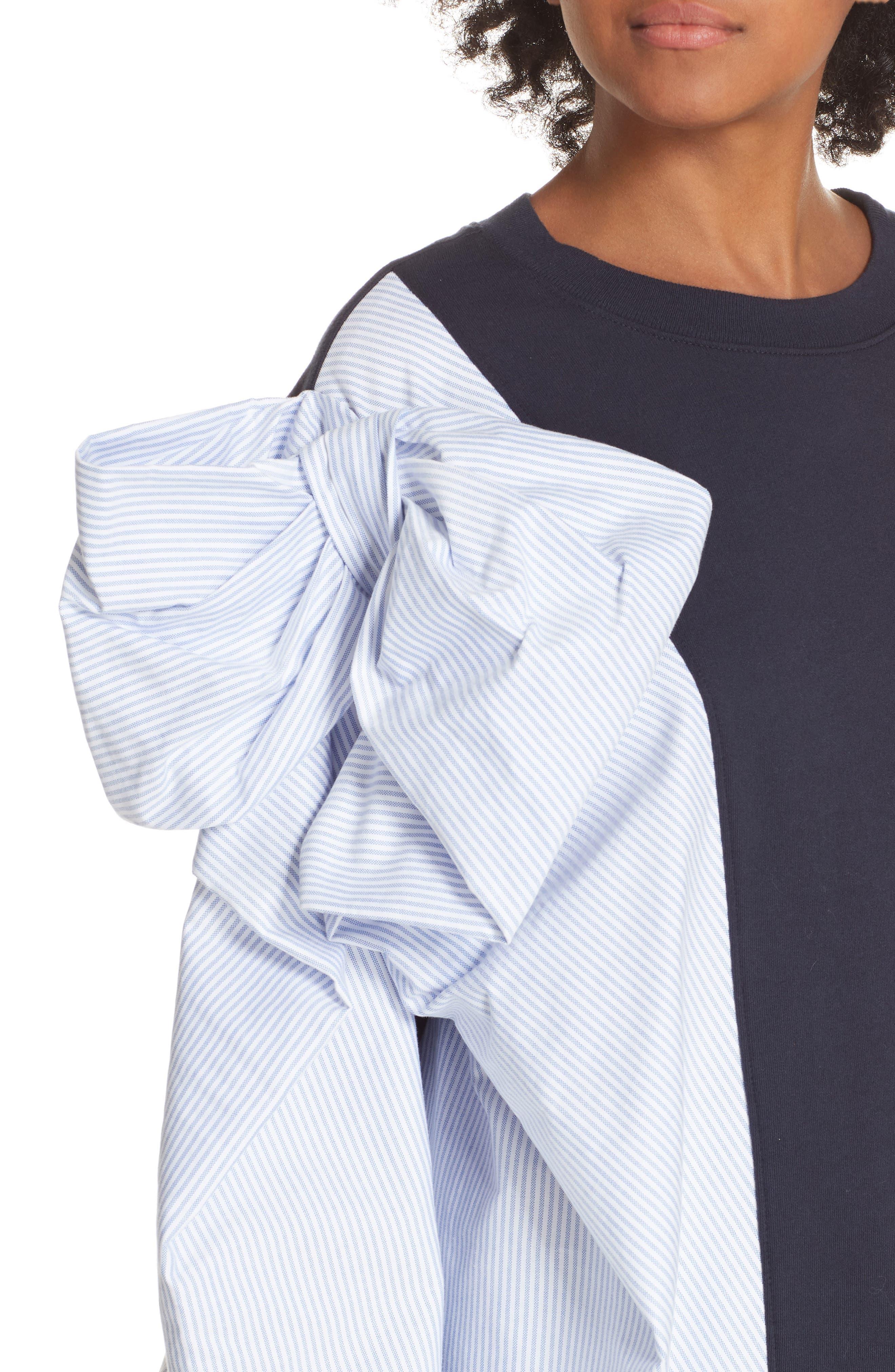 Bow Colorblock Sweatshirt,                             Alternate thumbnail 4, color,                             NAVY