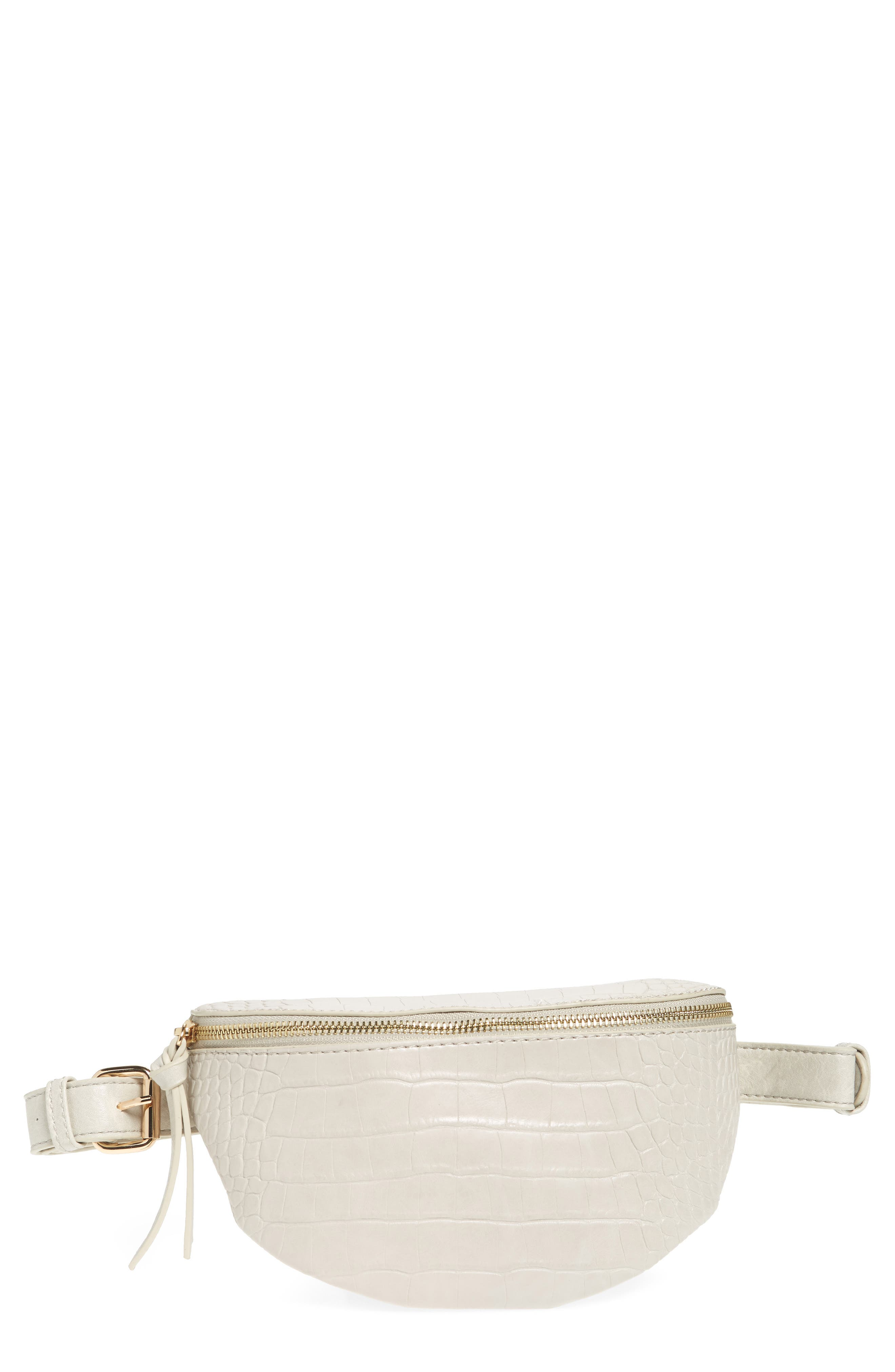 Embossed Faux Leather Belt Bag,                             Main thumbnail 1, color,                             IVORY