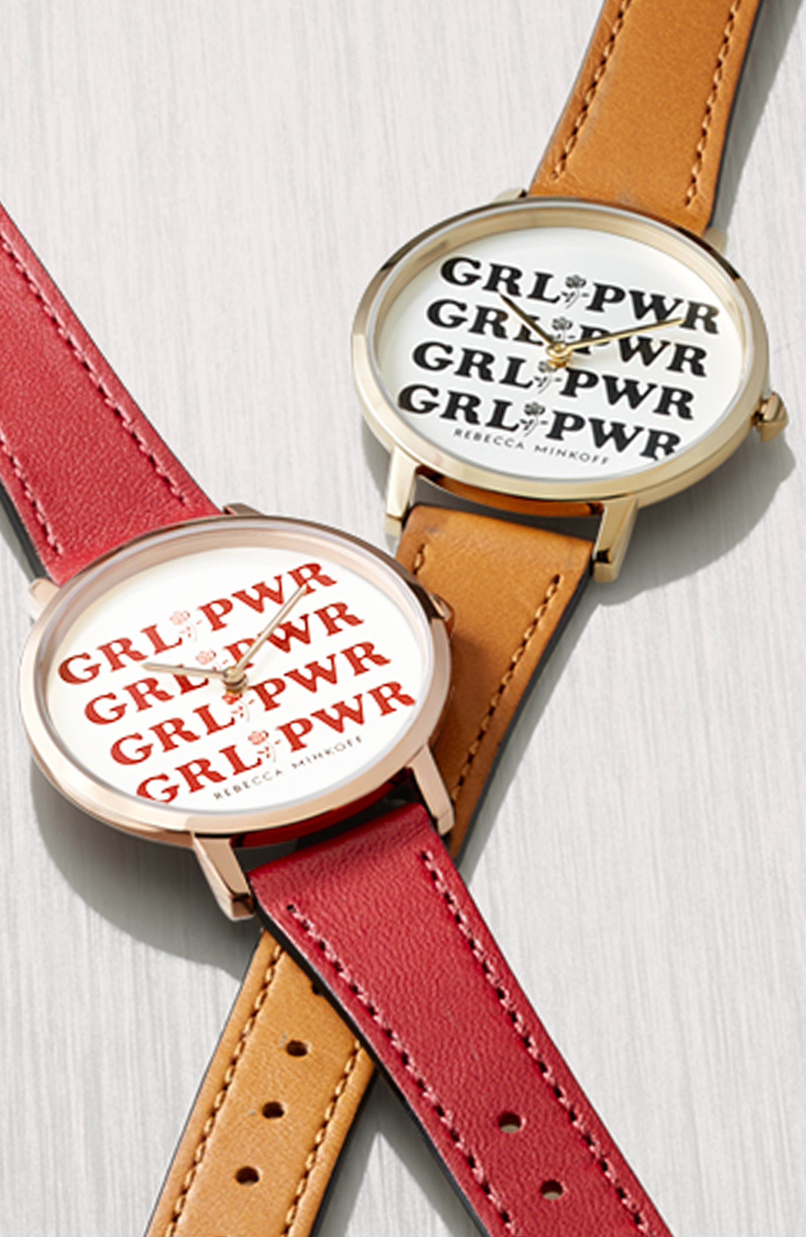 Rebeca Minkoff Major GRL PWR Leather Strap Watch, 35mm,                             Alternate thumbnail 4, color,                             ALMOND/ SILVER/ GOLD