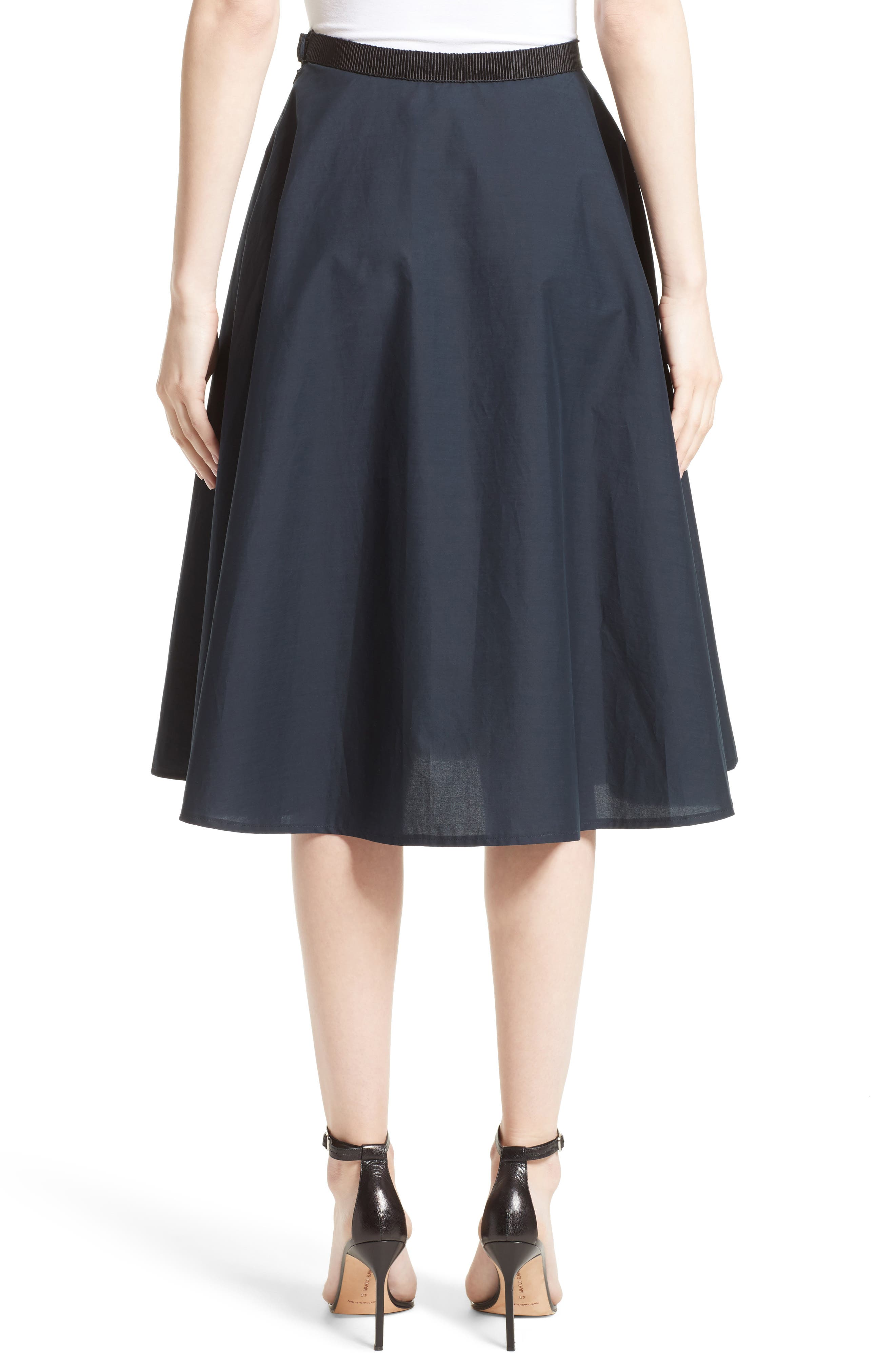 Ruffle Cotton A-Line Skirt,                             Alternate thumbnail 2, color,