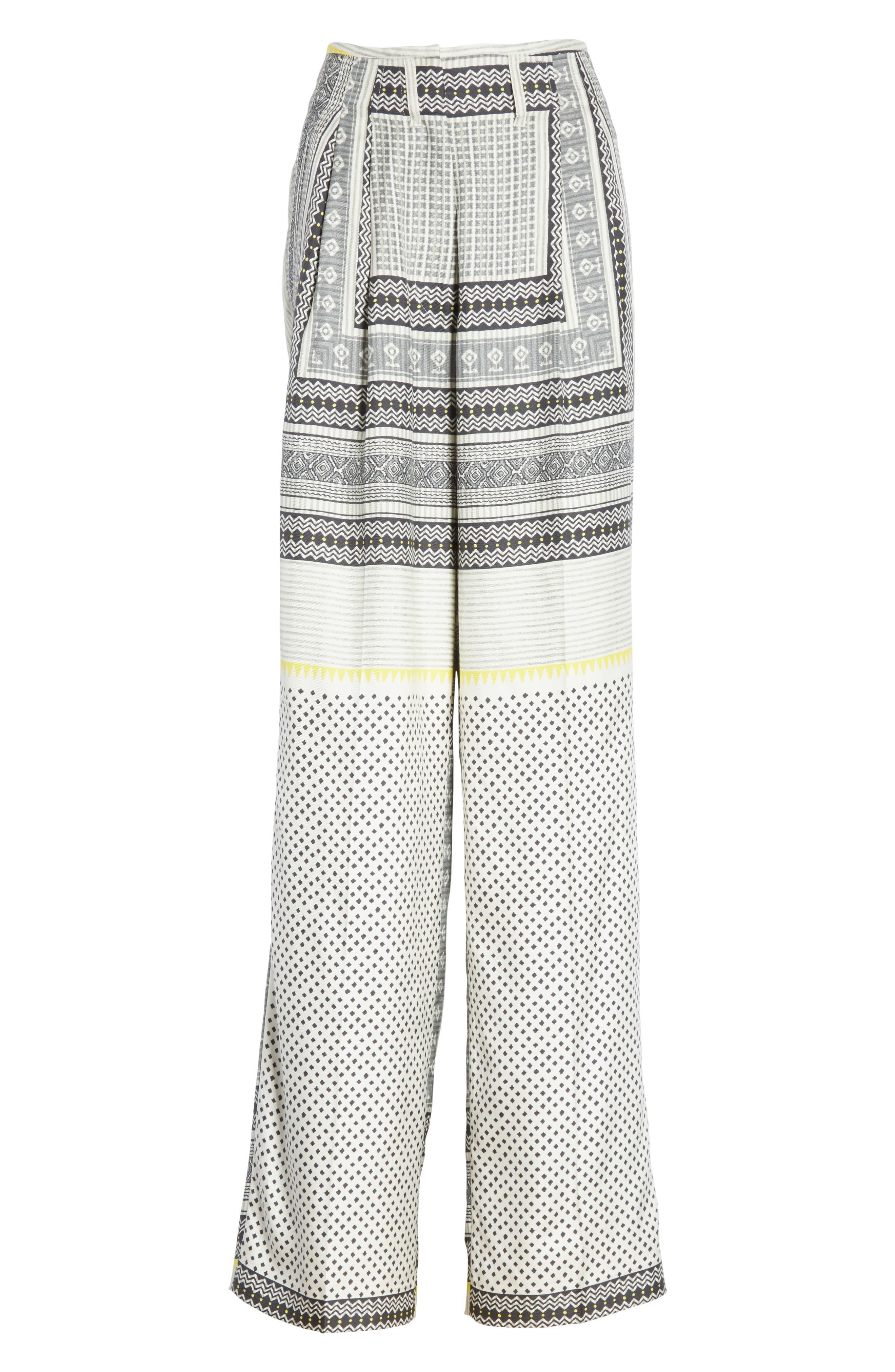 High Waist Silk Twill Pants,                             Alternate thumbnail 6, color,                             100