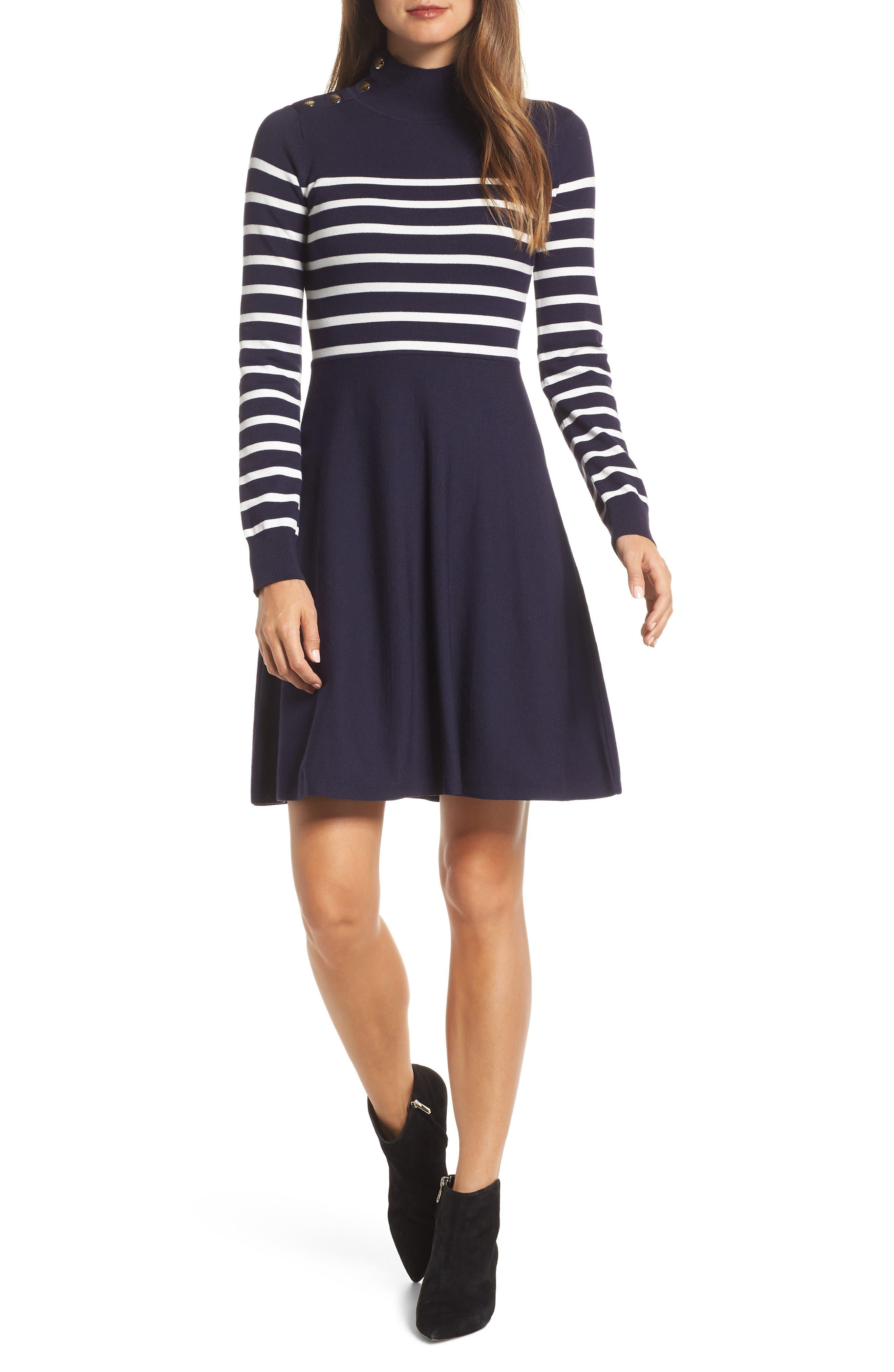 Stripe Mock Neck Fit & Flare Dress,                             Main thumbnail 1, color,                             NAVY