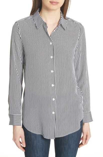 f687705441744 Equipment Essential Button-Front Striped Silk Shirt In Black   White ...