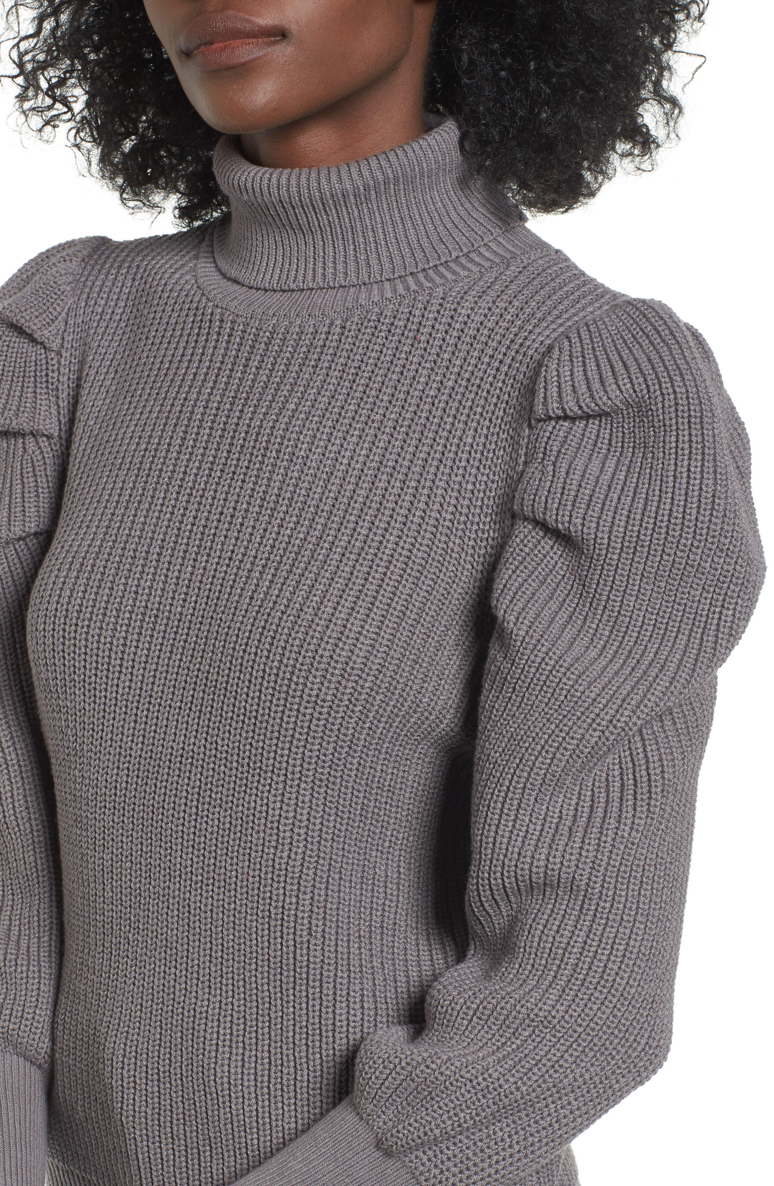 Puff Sleeve Turtleneck Sweater,                             Alternate thumbnail 4, color,                             030