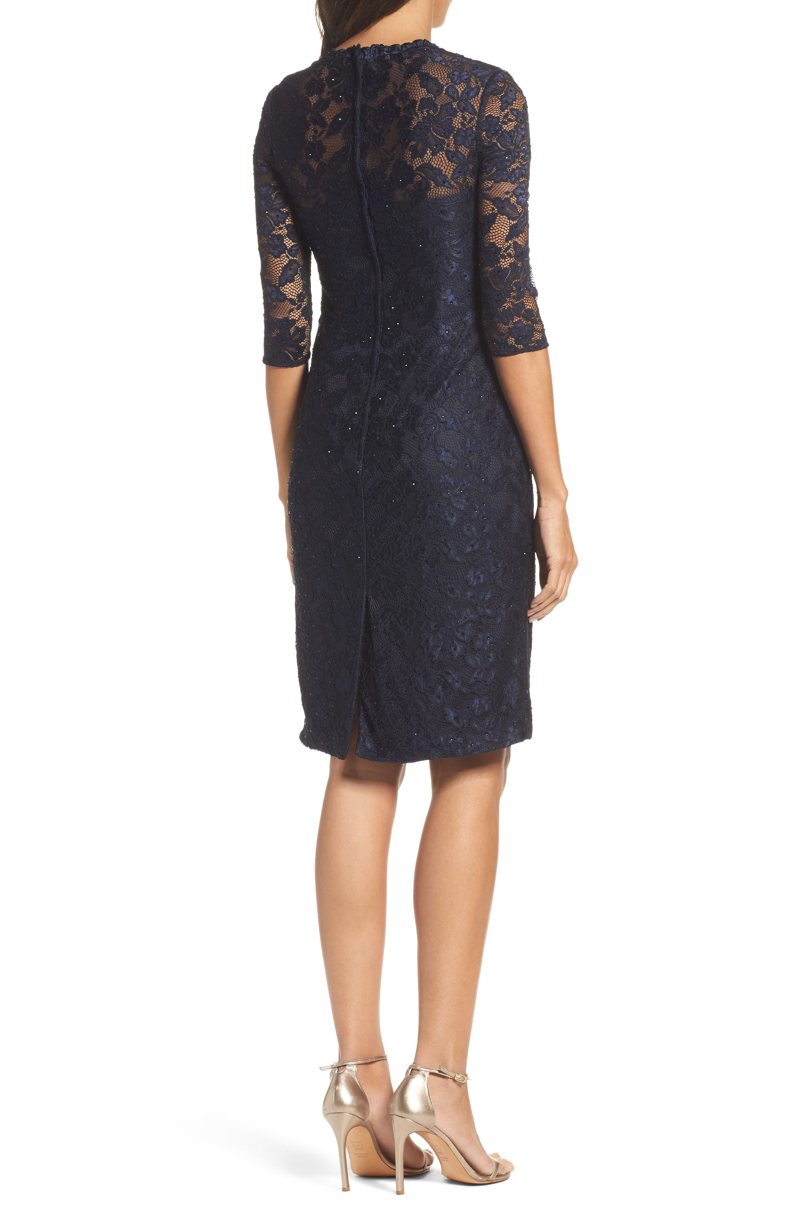 Sweetheart Lace Sheath Dress,                             Alternate thumbnail 2, color,                             NAVY
