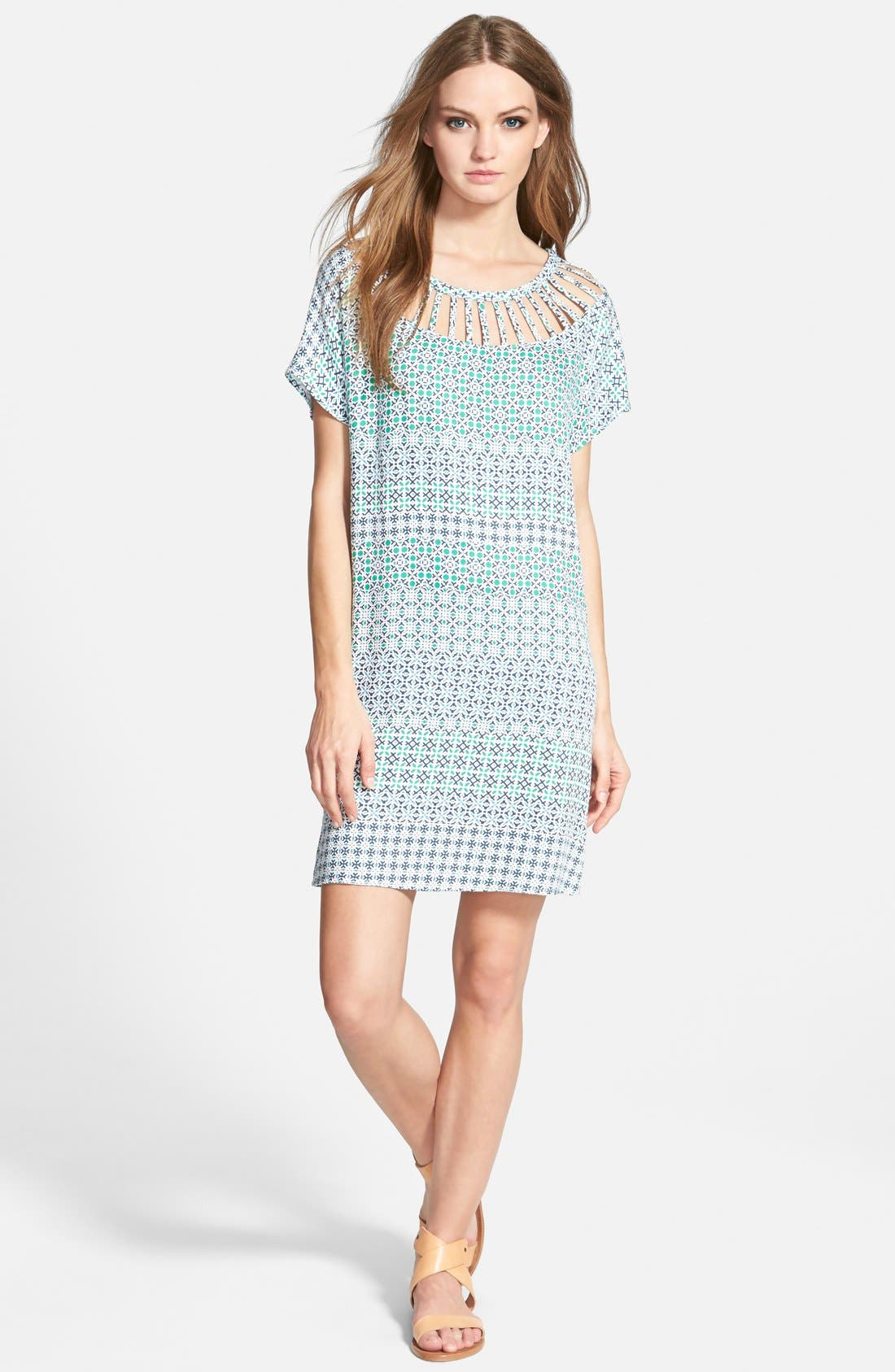 ELLA MOSS 'Mozaic' Short Sleeve Shift Dress, Main, color, 300