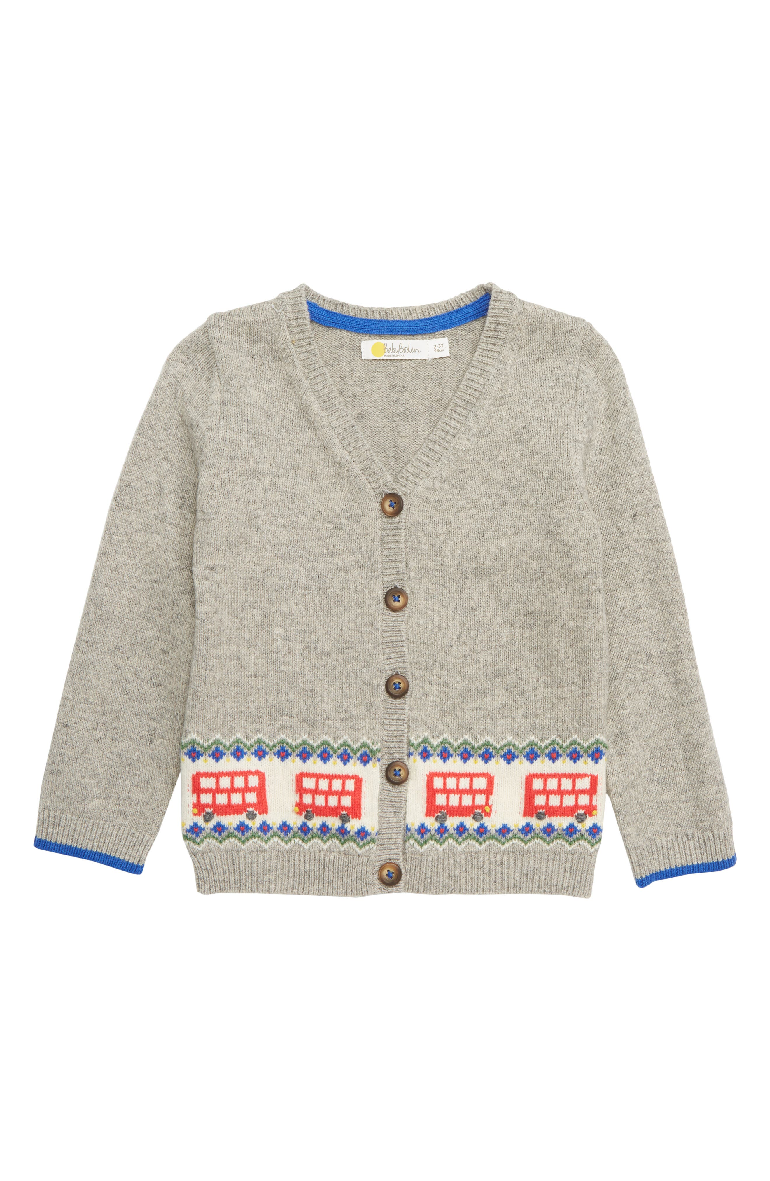 MINI BODEN Buses Fair Isle Cardigan, Main, color, GRY GREY MARL BUSES