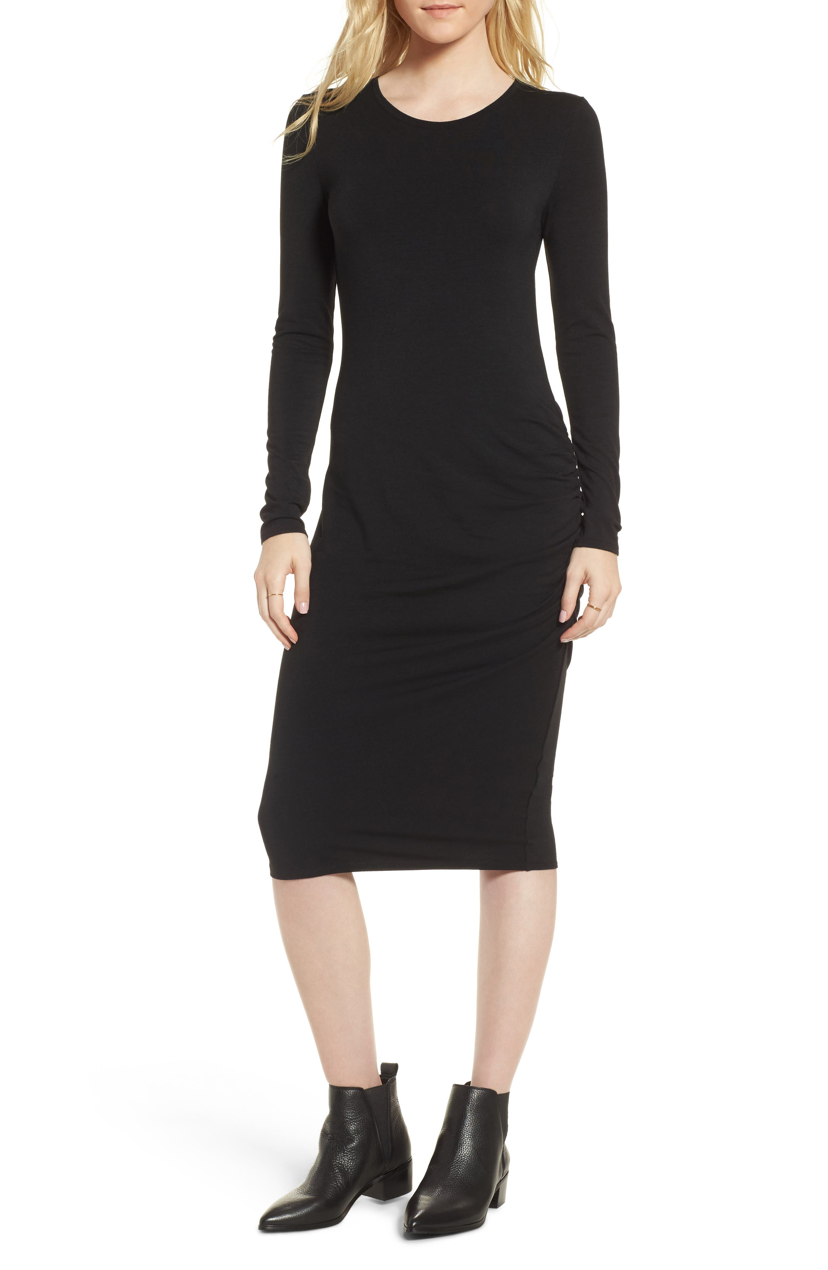 Side Ruched Knit Sheath Dress,                         Main,                         color, 001