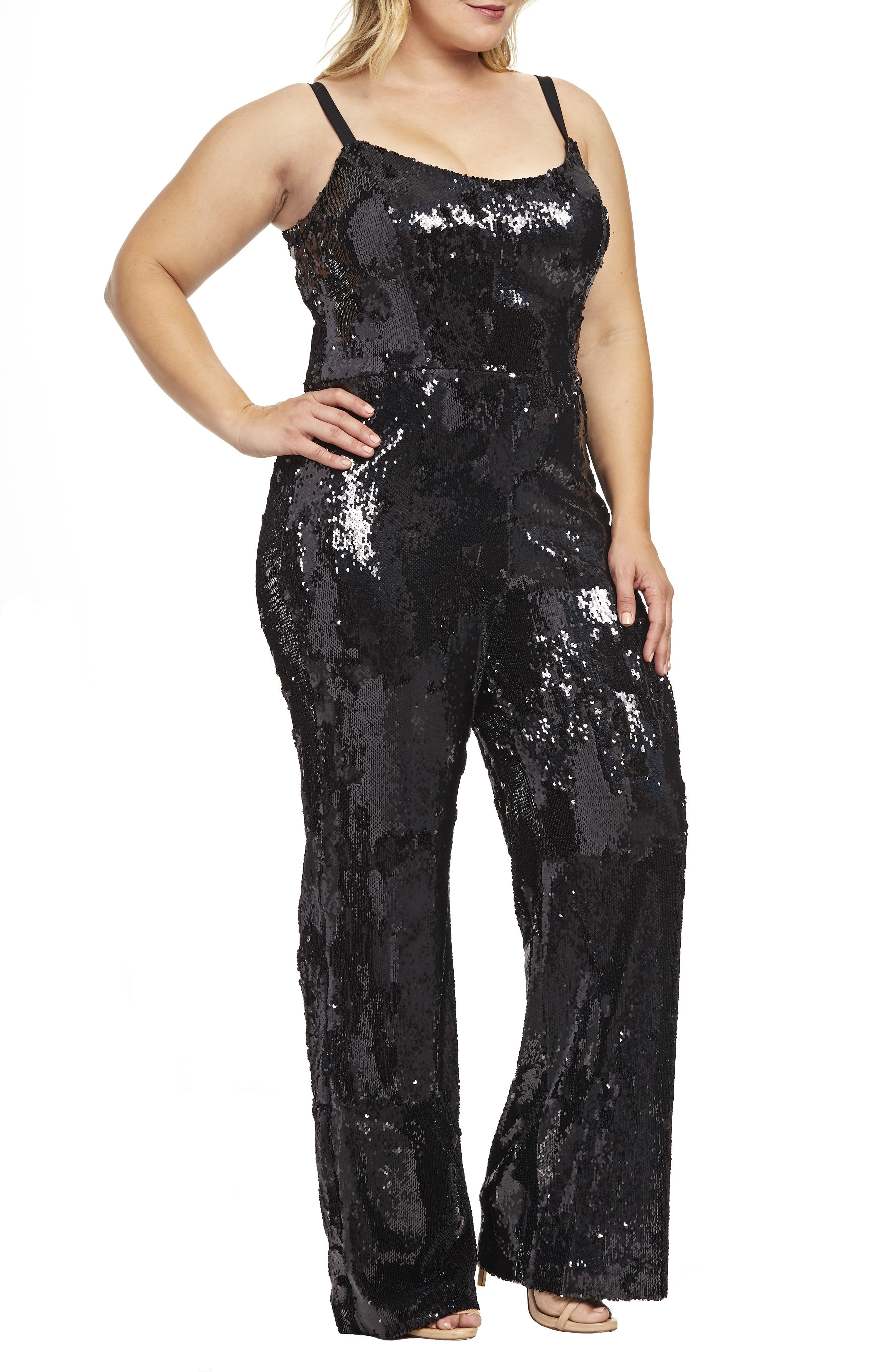 Victoria Sequin Jumpsuit,                             Alternate thumbnail 3, color,                             BLACK PEARL