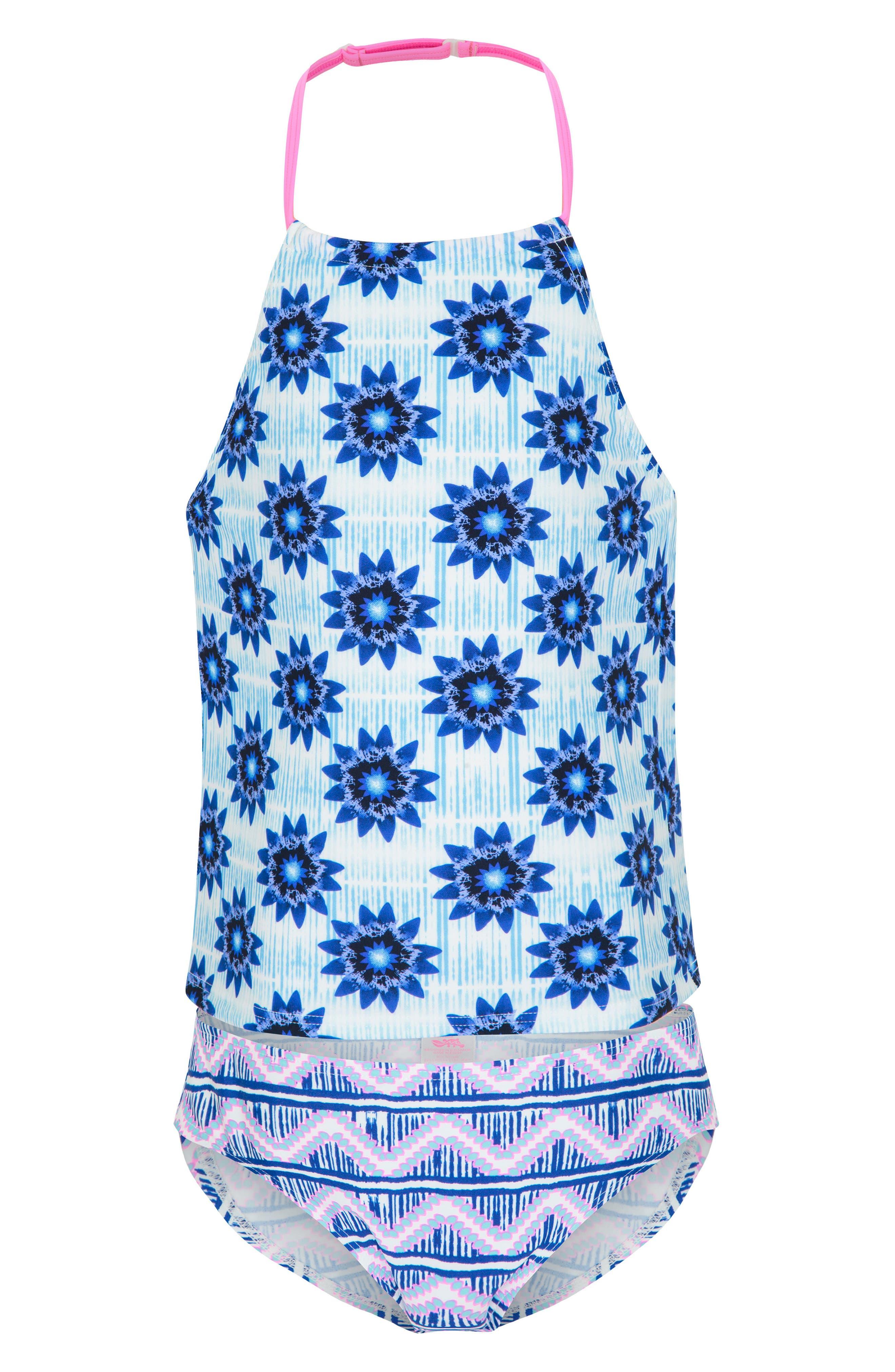 PLATYPUS AUSTRALIA,                             Two-Piece Tankini Swimsuit,                             Main thumbnail 1, color,                             INKY BLOCK