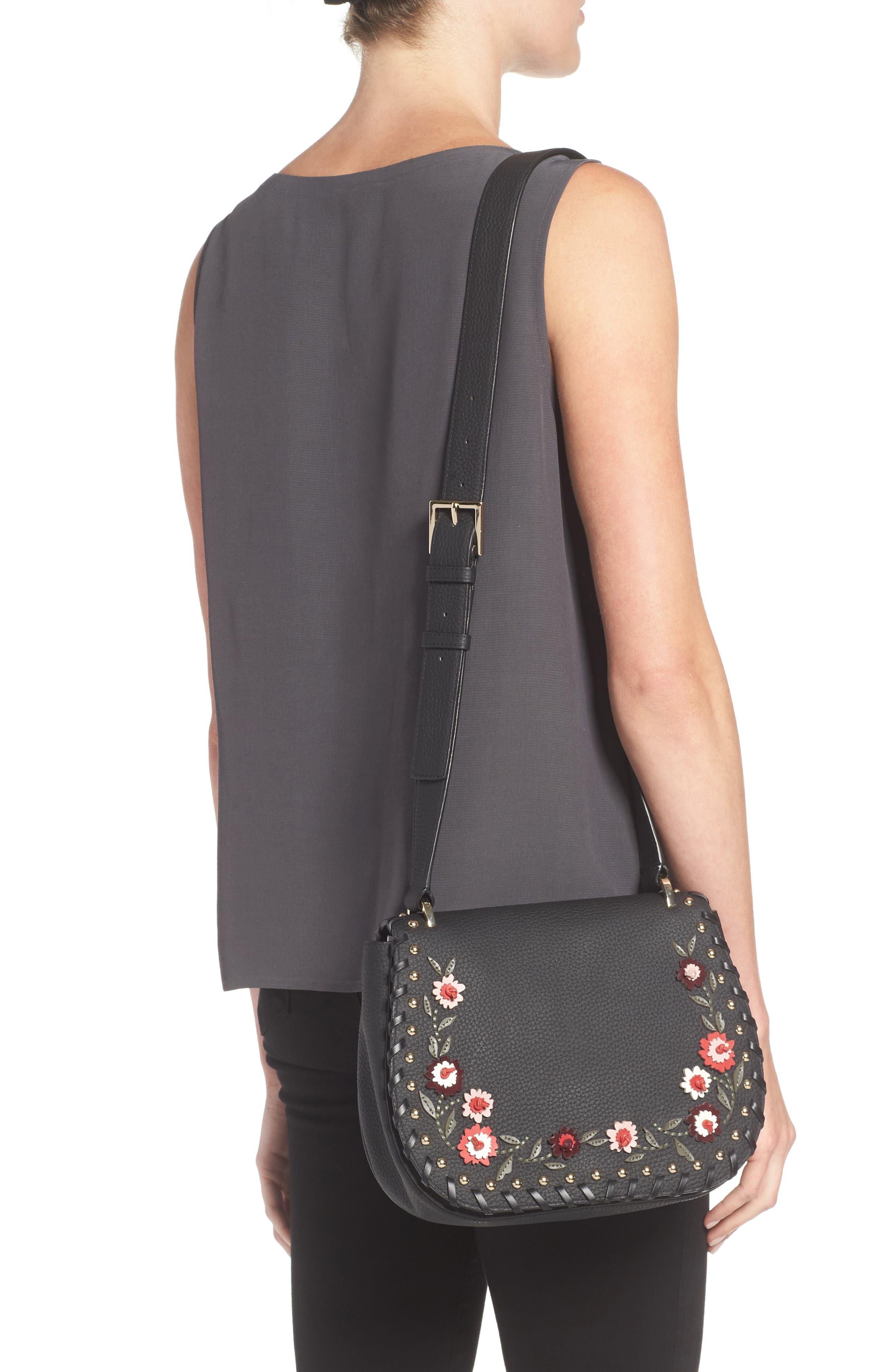 madison daniels drive - tressa embellished leather crossbody bag,                             Alternate thumbnail 2, color,                             001