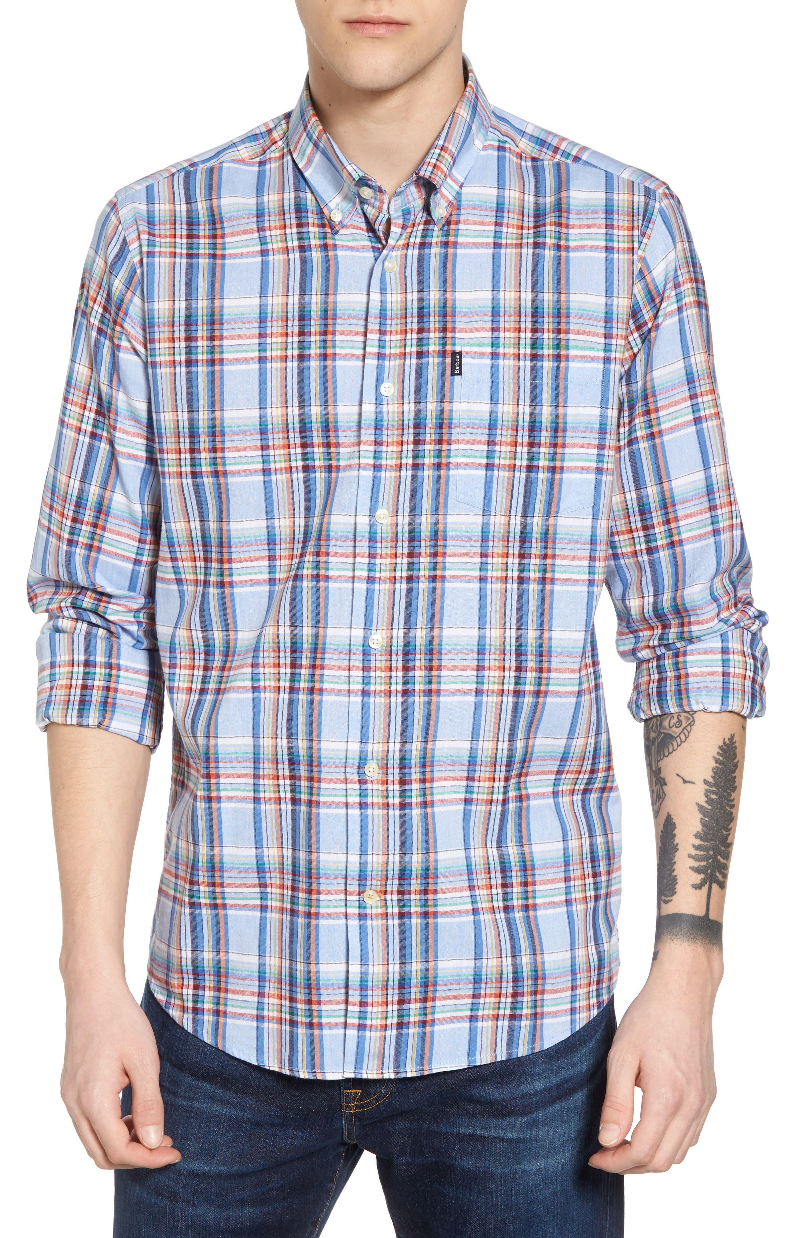 Bram Trim Fit Plaid Sport Shirt,                             Main thumbnail 1, color,                             450