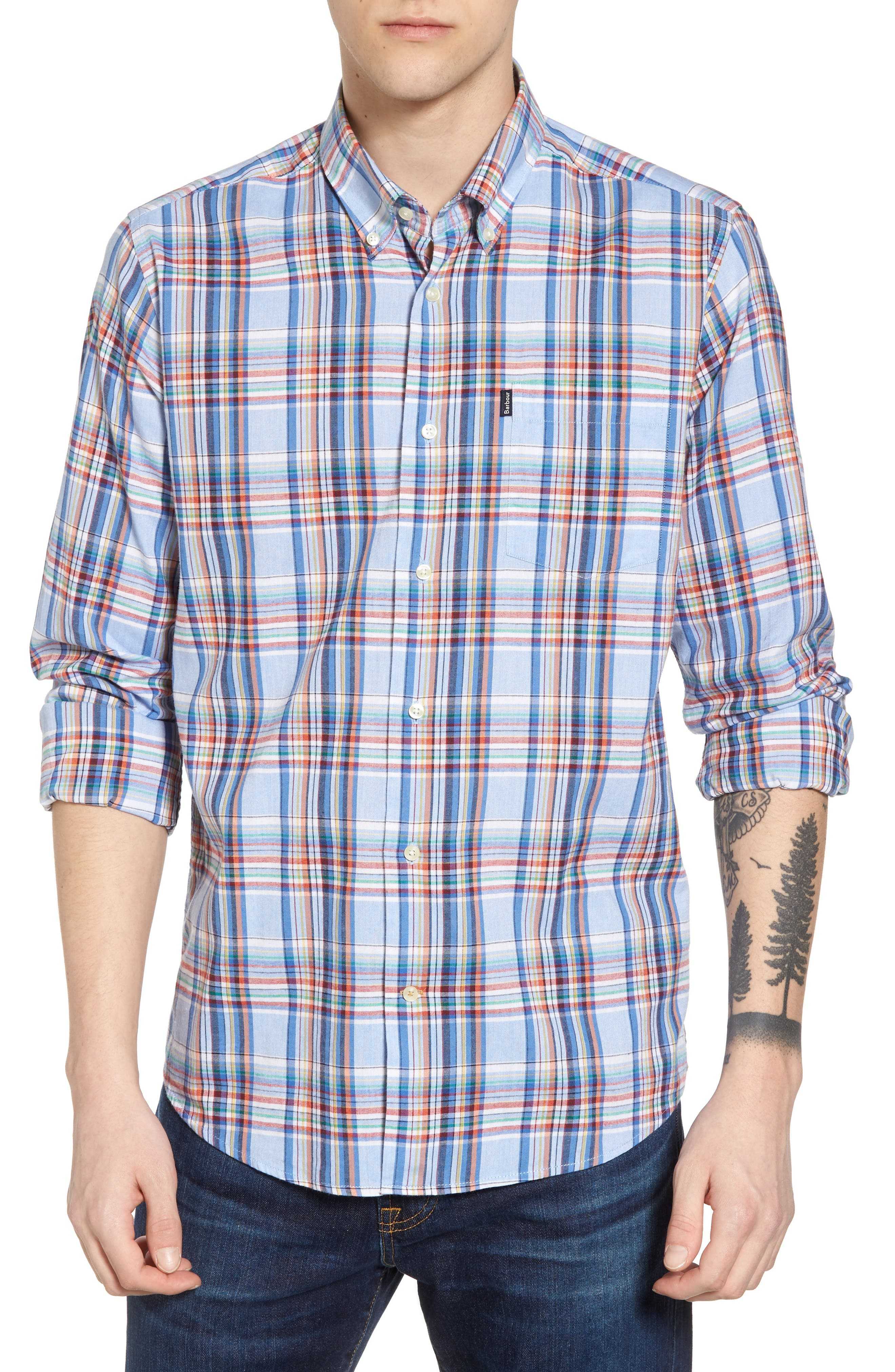 Bram Trim Fit Plaid Sport Shirt,                         Main,                         color, 450