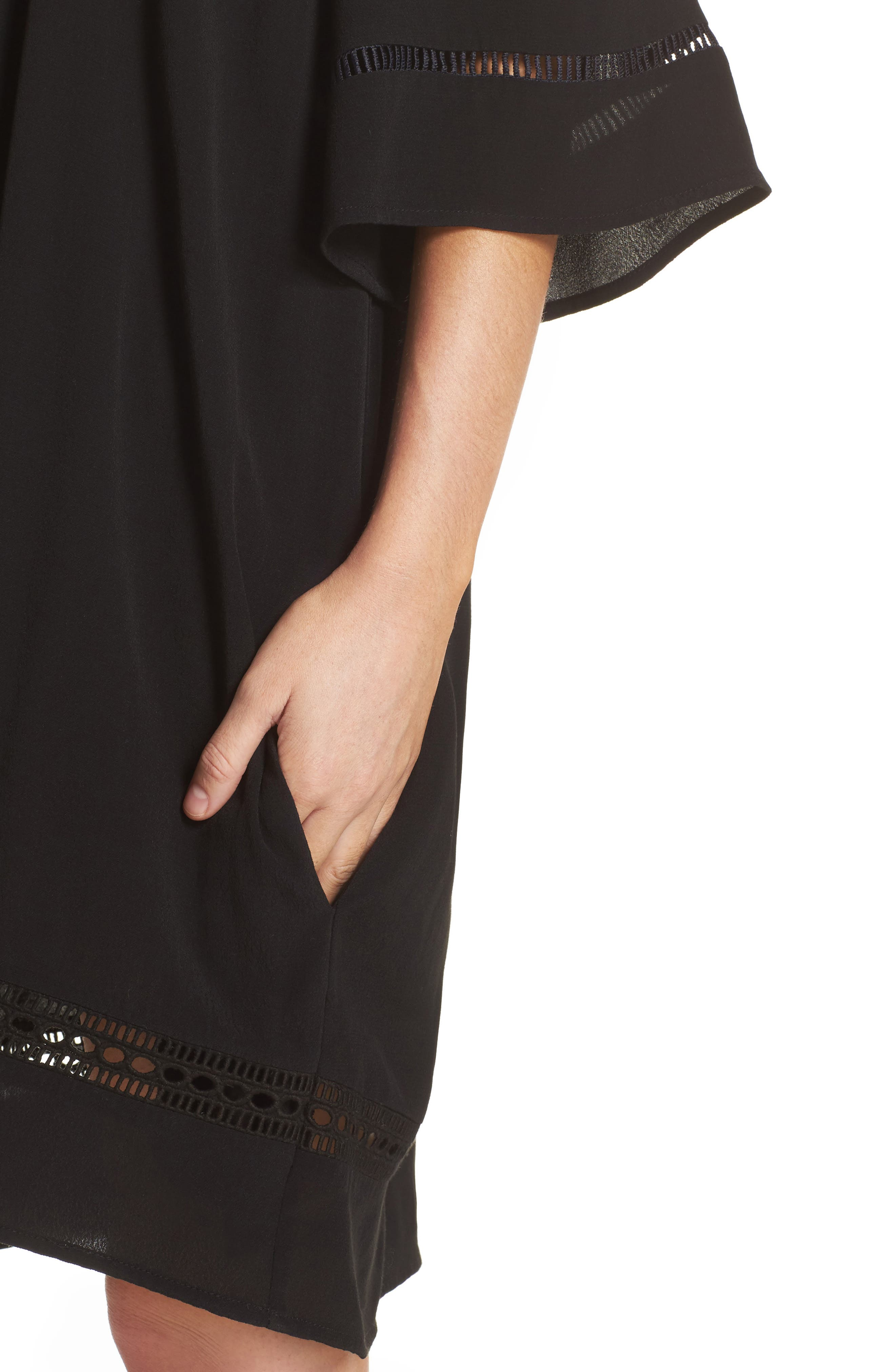 City Wide Off the Shoulder Cover-Up Dress,                             Alternate thumbnail 4, color,                             001